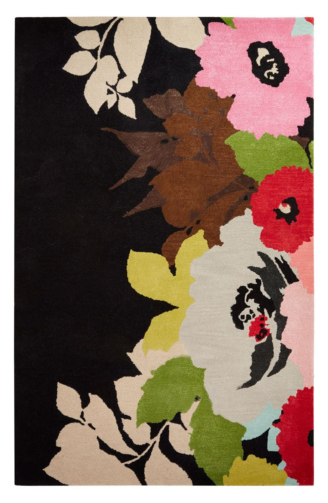 kate spade new york 'gramercy - floral & leaves' hand tufted wool blend rug