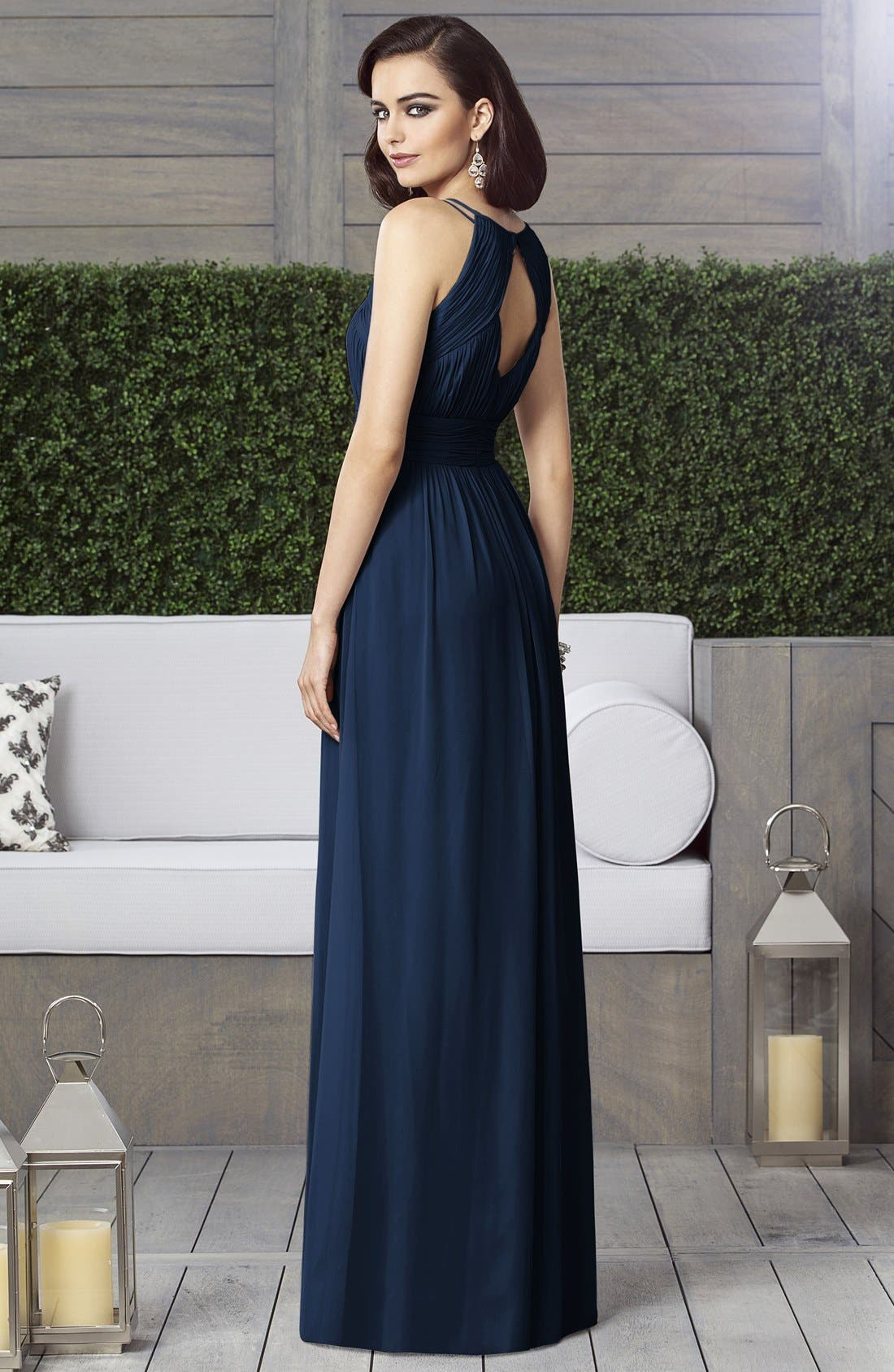 Alternate Image 5  - Dessy Collection Ruched Chiffon Keyhole Halter Gown