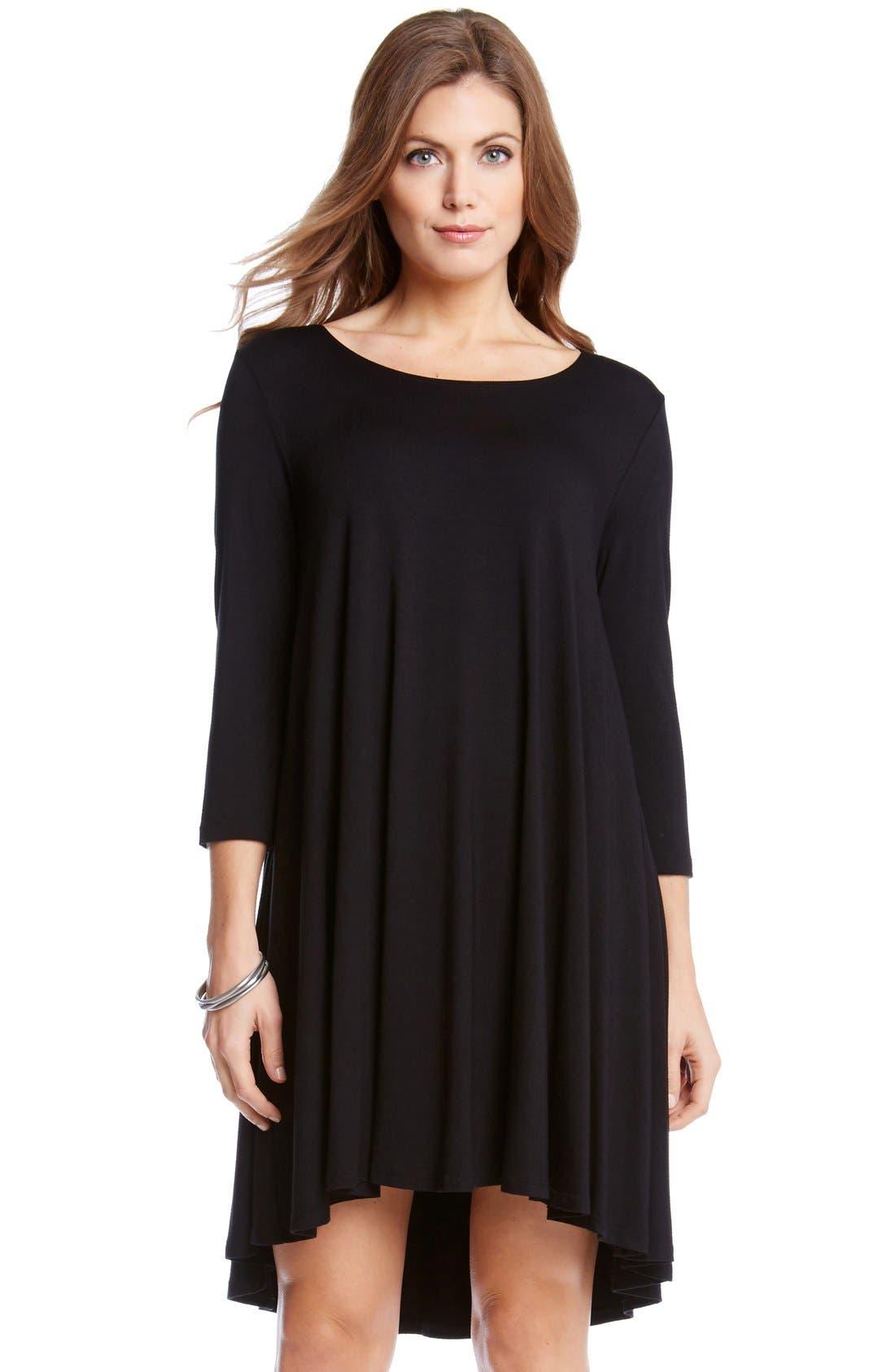 'Maggie' Three Quarter Sleeve Trapeze Dress,                         Main,                         color, Black