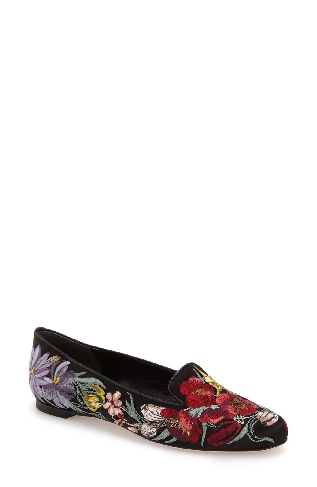 Alternate Image 1 Selected - Alexander McQueen Embroidered Flower Loafer (Women)