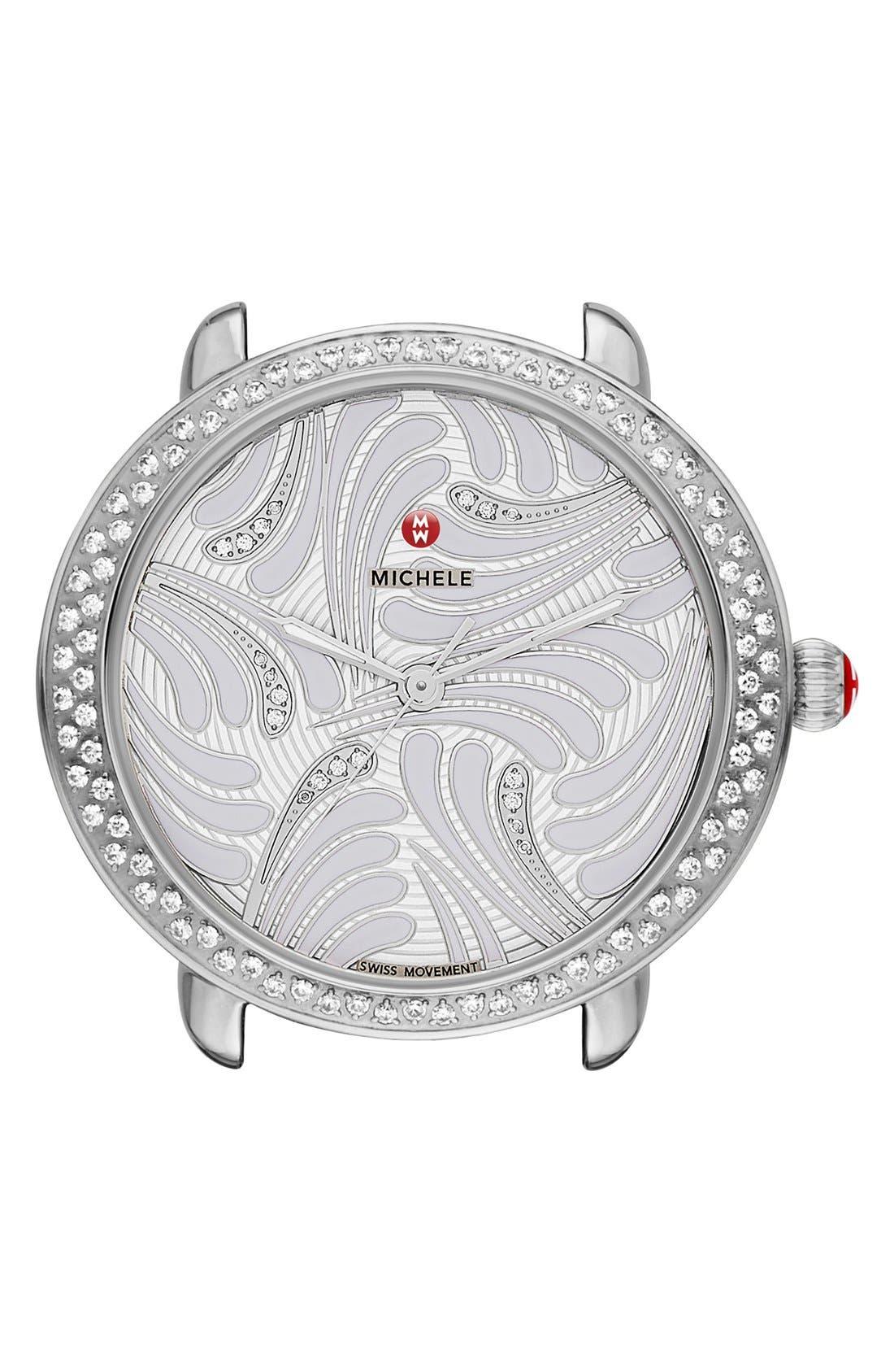 Serein 16 Diamond Watch Case, 34mm x 36mm,                             Main thumbnail 1, color,                             Silver/ Silver