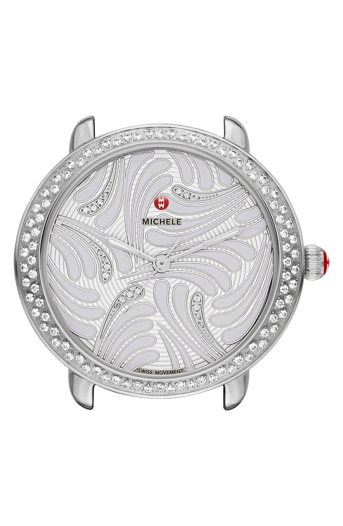 Serein 16 Diamond Watch Case, 34mm x 36mm,                         Main,                         color, Silver/ Silver