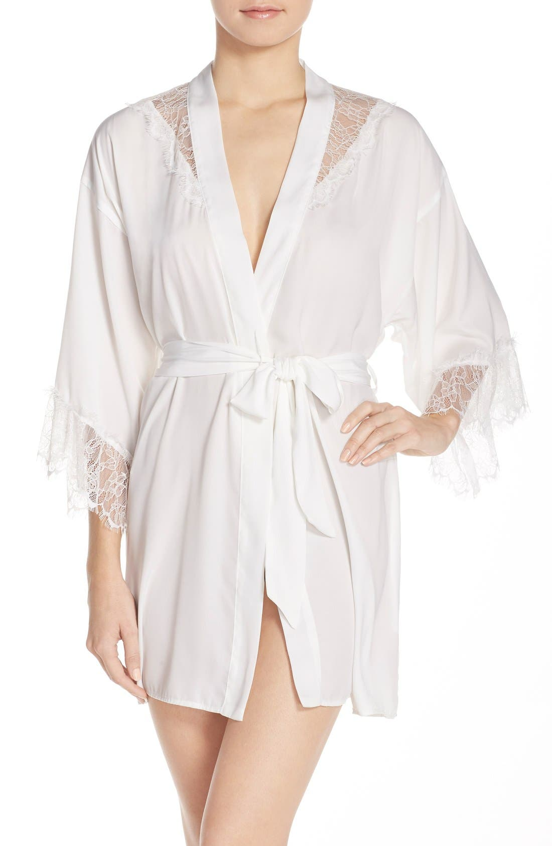 Main Image - Betsey Johnson Washed Satin Short Robe