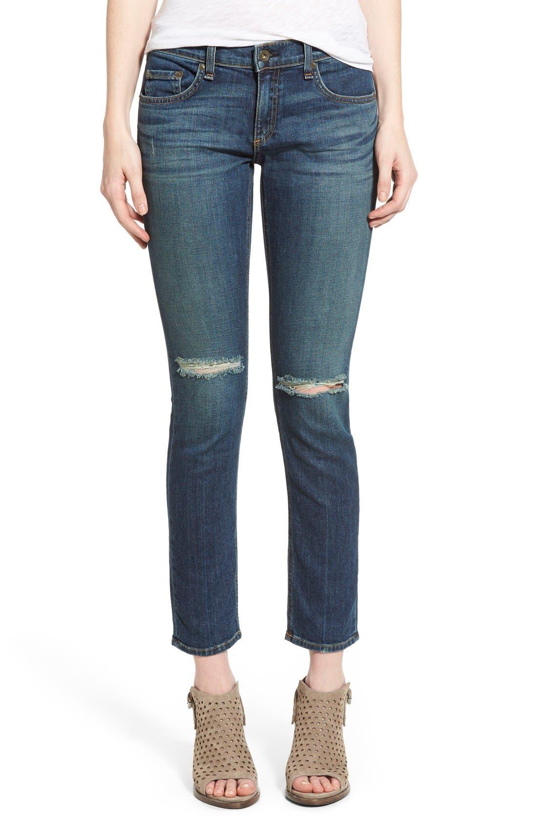 Alternate Image 1 Selected - rag & bone/JEAN 'Tomboy' Boyfriend Skinny Jeans (Burnley)