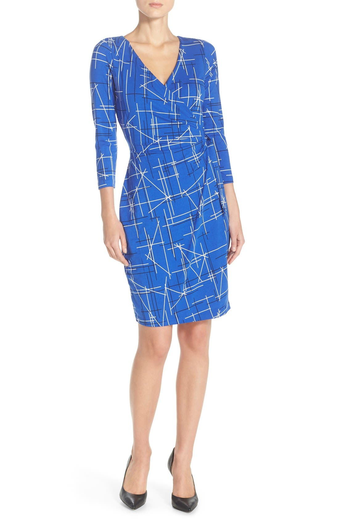 Print Faux Wrap Dress,                         Main,                         color, Electric Triangles Print