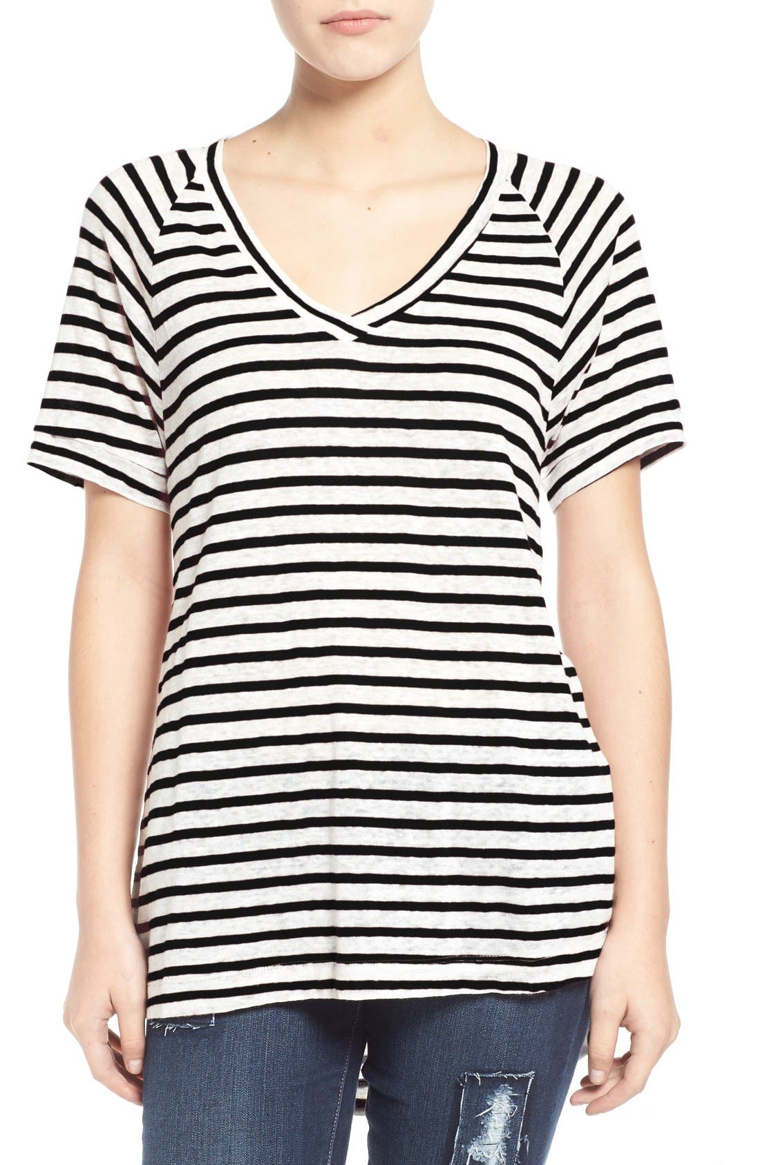 Alternate Image 1 Selected - The Hanger Stripe V-Neck High/Low Tee