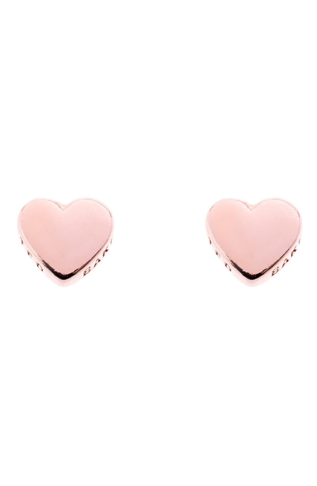 'Tiny Heart' Stud Earrings,                             Main thumbnail 1, color,                             Rose Gold