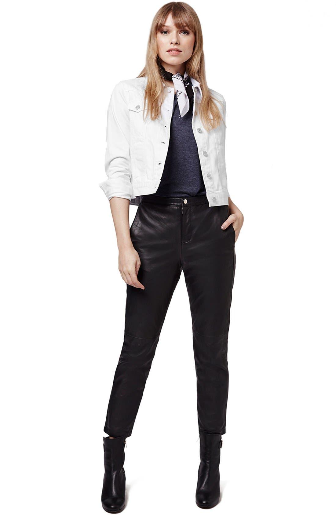 Alternate Image 2  - Topshop Moto 'Tilda' Washed Denim Jacket (White)