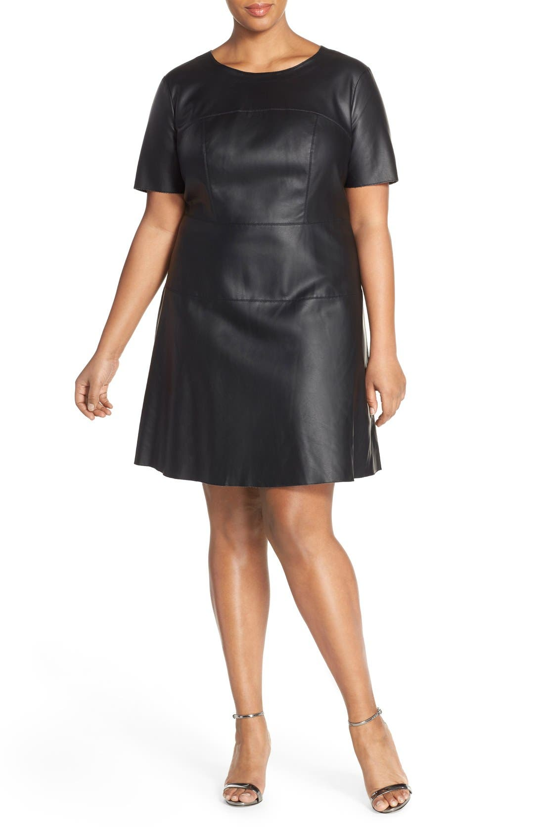 Tart 'Carla' Faux Leather Fit & Flare Dress (Plus Size)