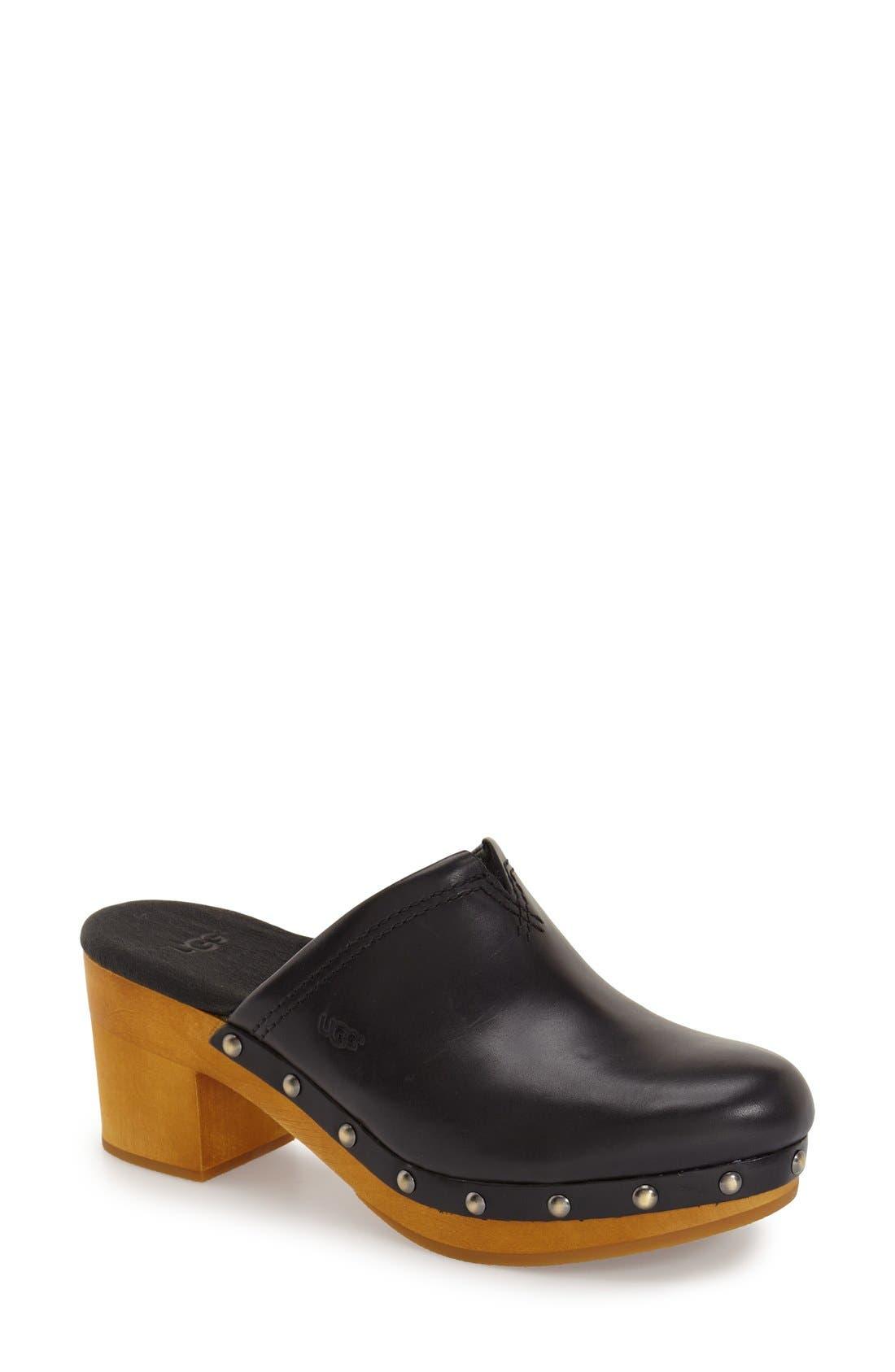 'Kay' Clog,                         Main,                         color, Black Leather