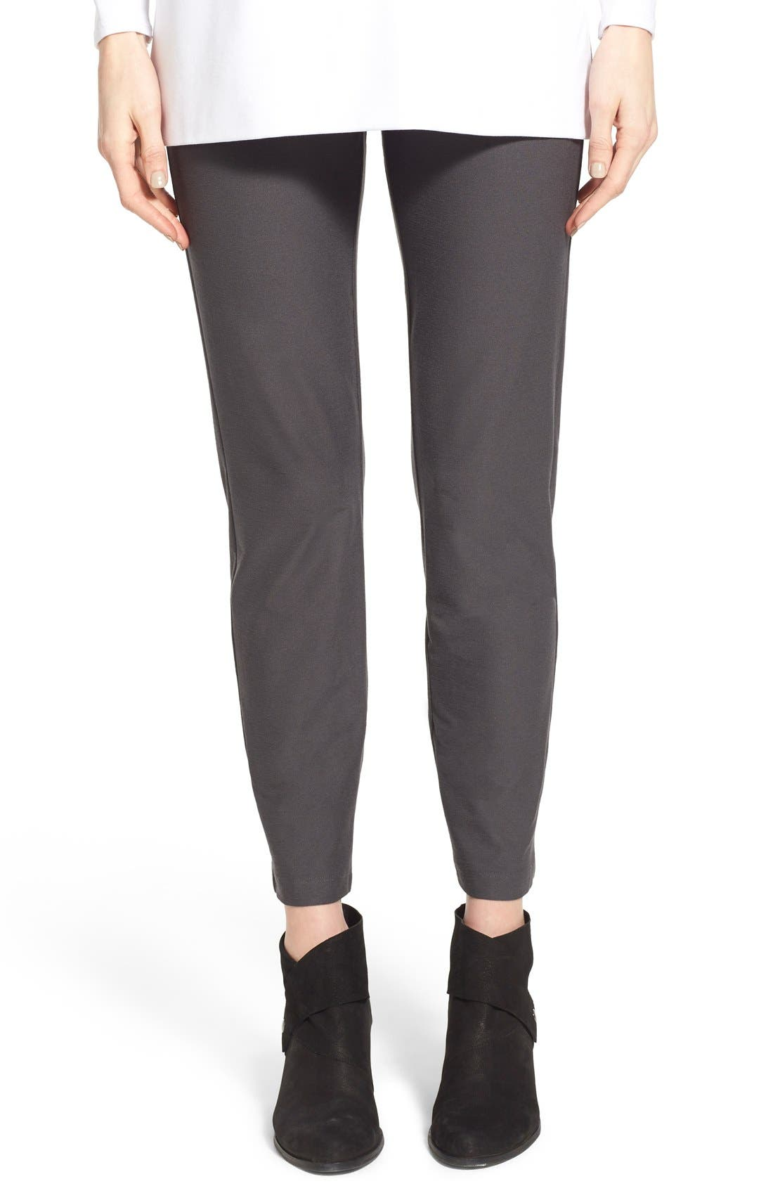 Main Image - Eileen Fisher Stretch Crepe Slim Ankle Pants (Regular & Petite)