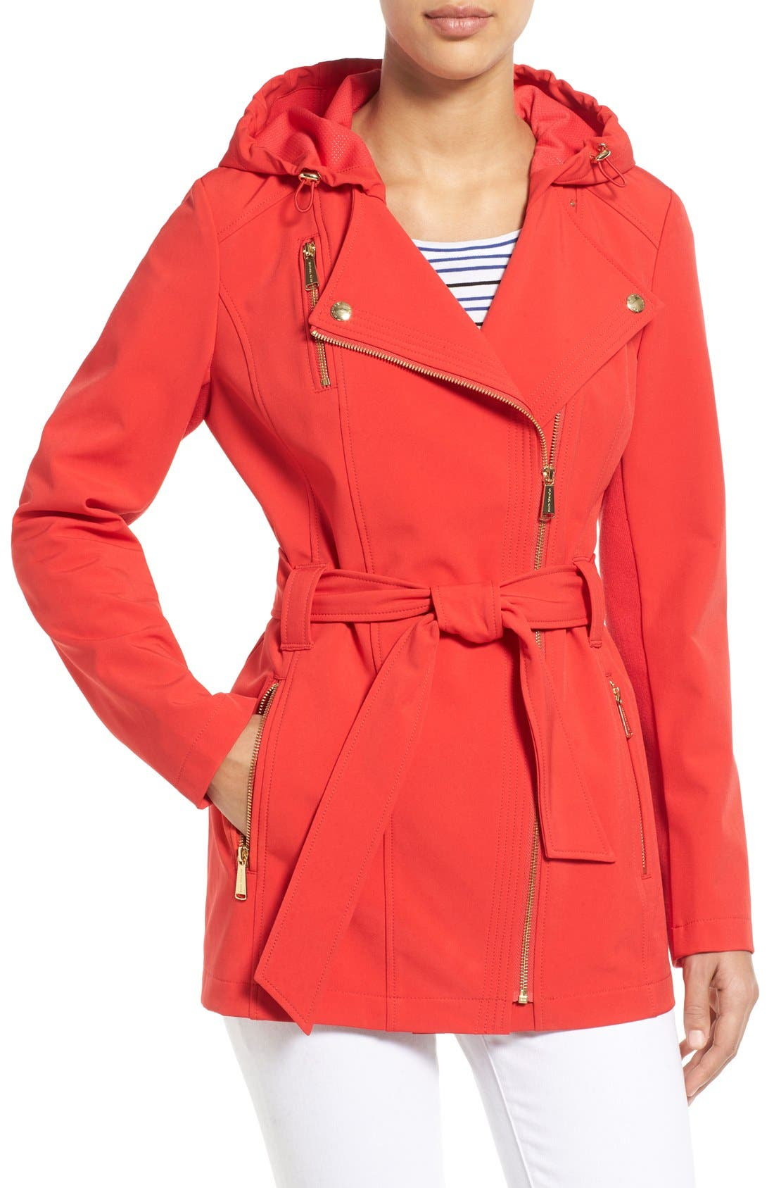 Alternate Image 1 Selected - MICHAEL Michael Kors Asymmetrical Zip Belted Soft Shell Coat