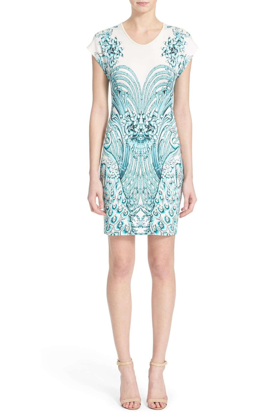 Main Image - Just Cavalli Peacock Jersey Body-Con Dress