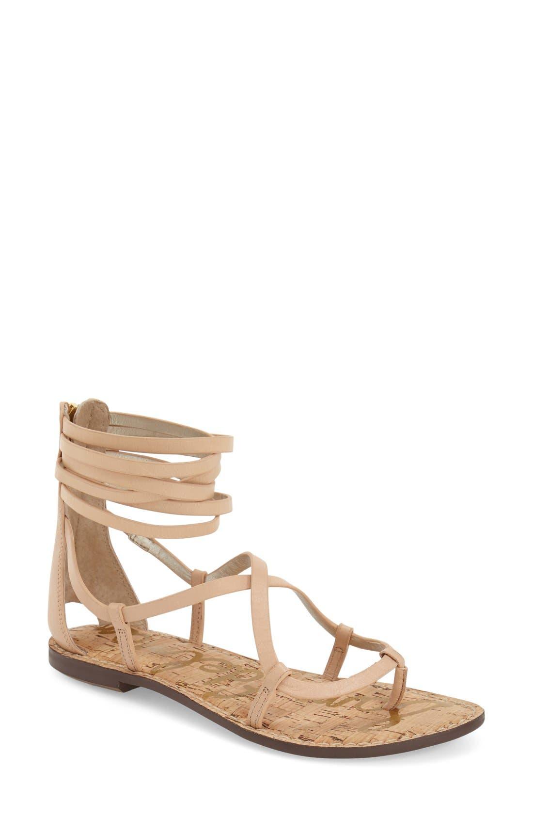 'Ginette' Sandal,                             Main thumbnail 1, color,                             Natural Naked Leather