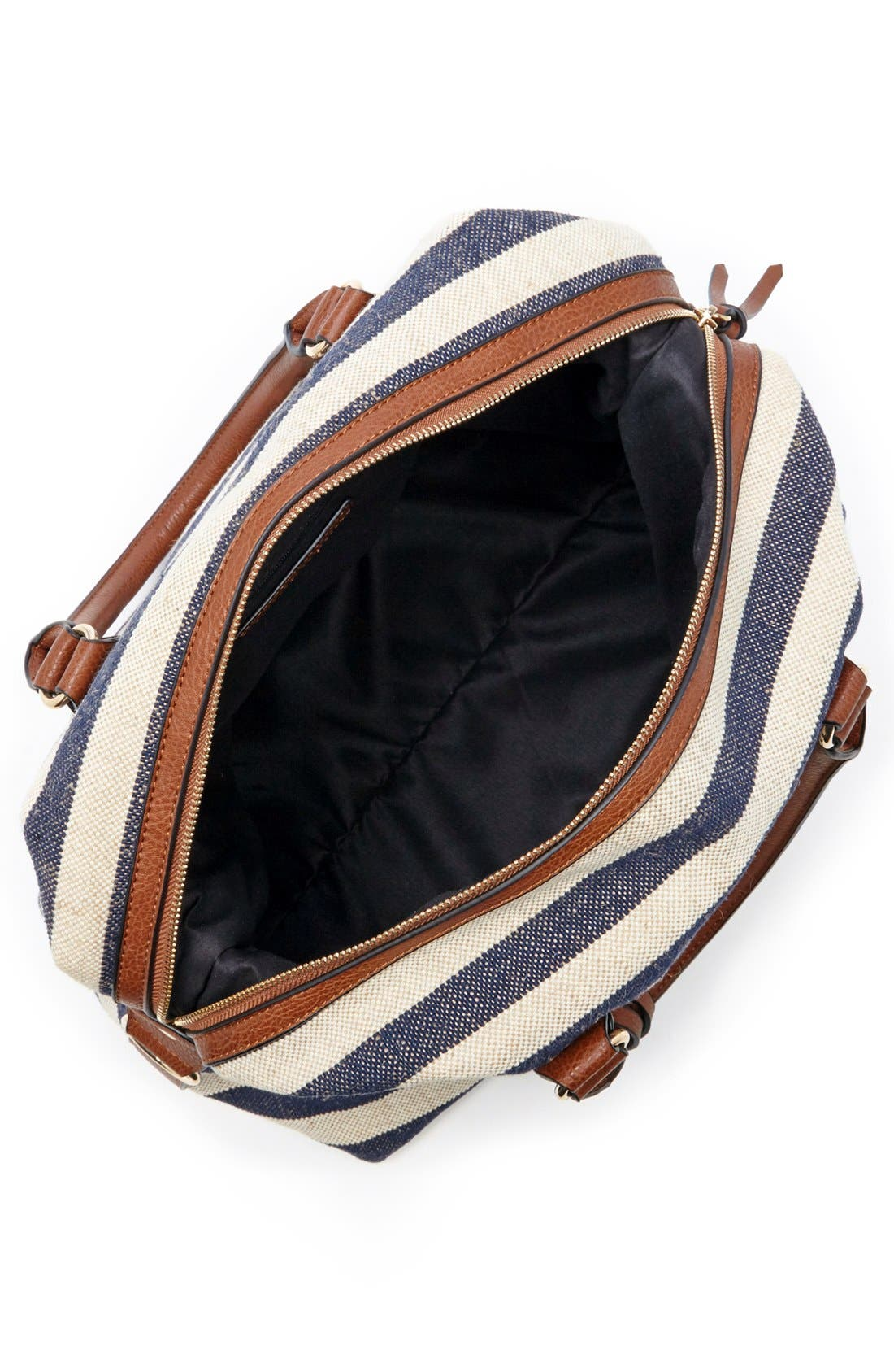 'Leighton' Stripe Duffel Bag,                             Alternate thumbnail 4, color,                             Navy/ Cream