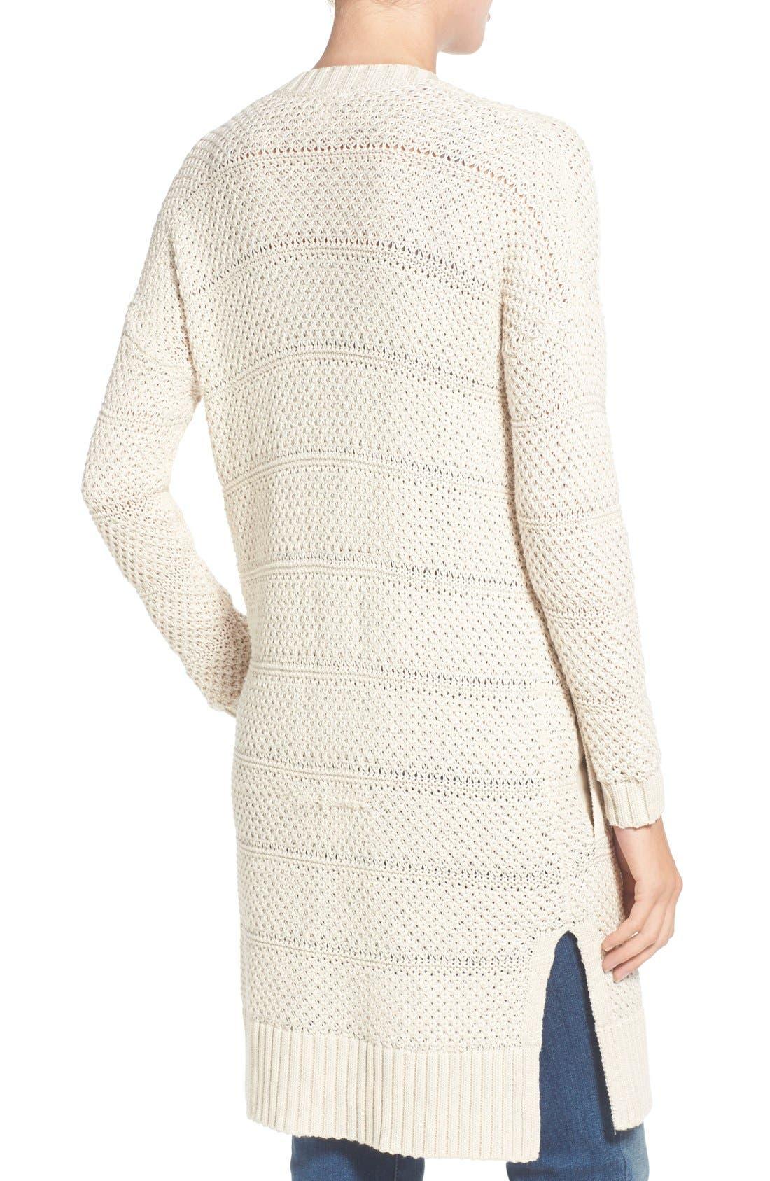 Alternate Image 2  - Caslon® Open Stitch Long Cotton Cardigan (Regular & Petite)