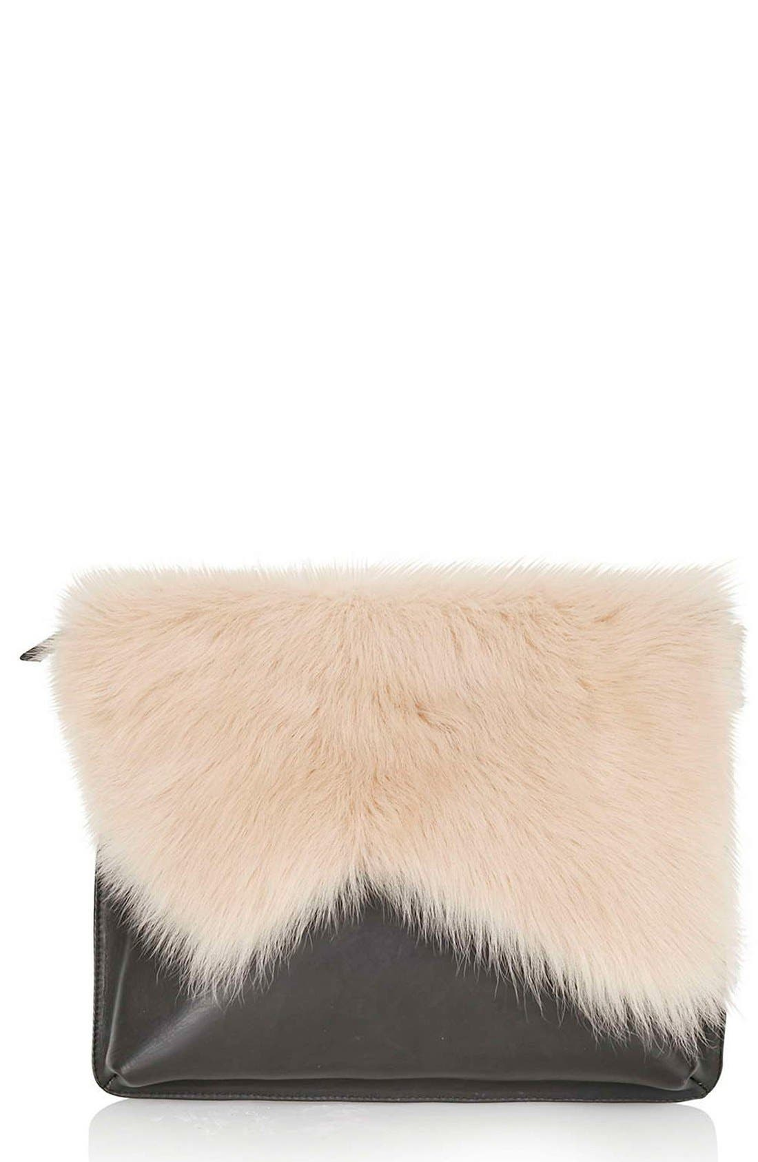 Main Image - Topshop Genuine Shearling & Leather Clutch