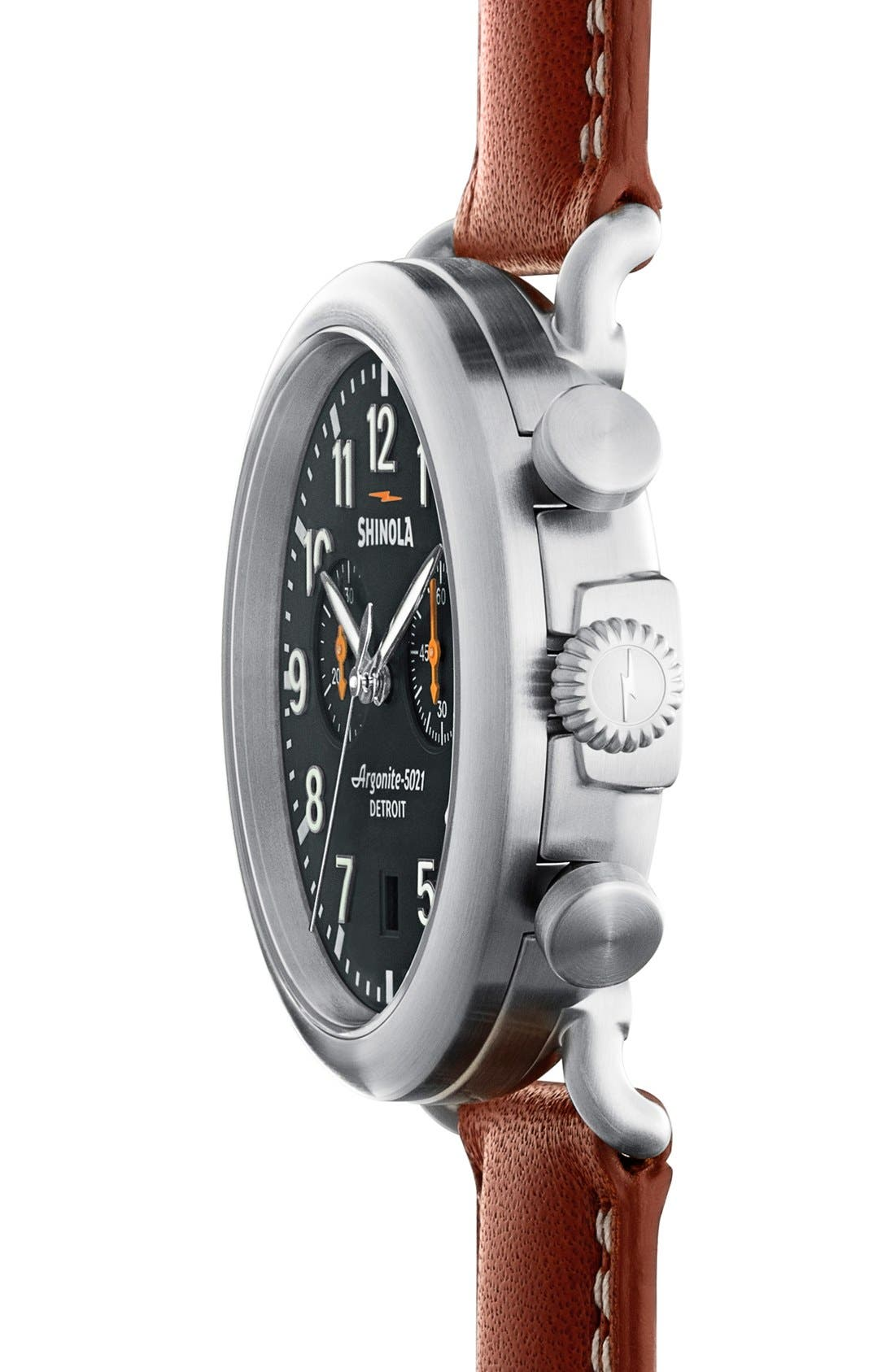 'The Runwell Chrono' Leather Strap Watch, 41mm,                             Alternate thumbnail 3, color,                             Tan/ Cool Grey