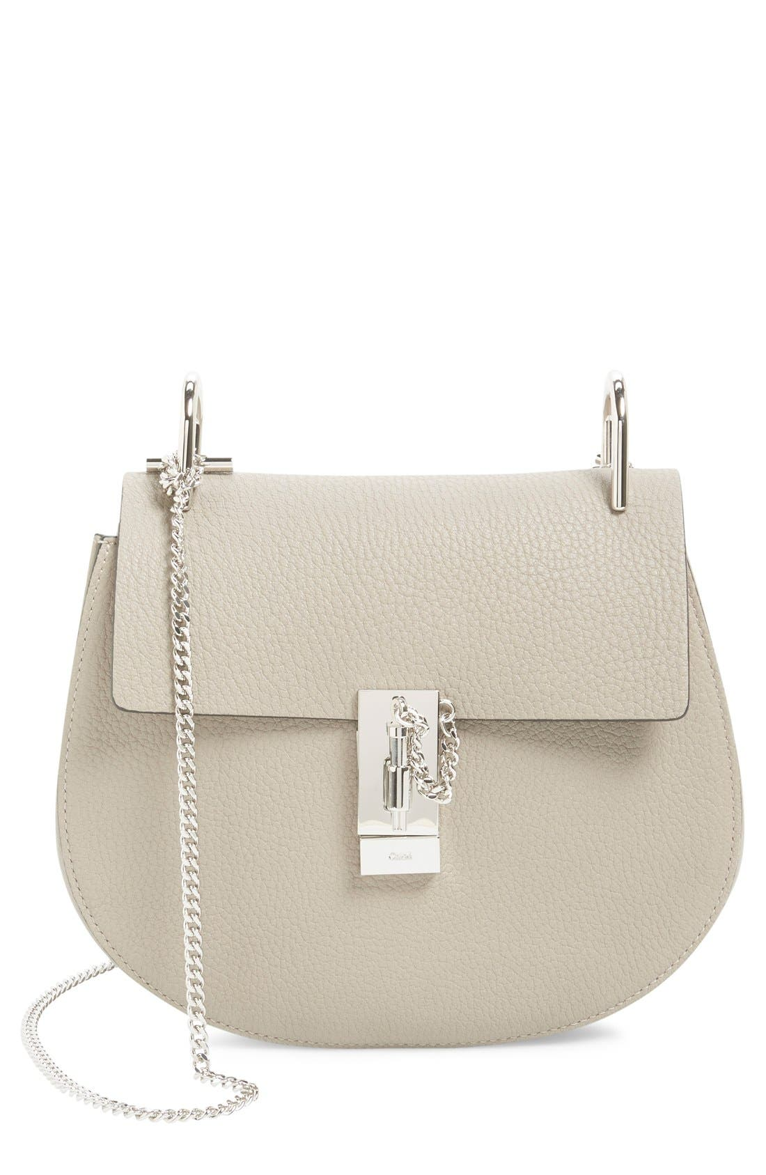 'Small Drew' Leather Shoulder Bag,                             Main thumbnail 1, color,                             Motty Grey