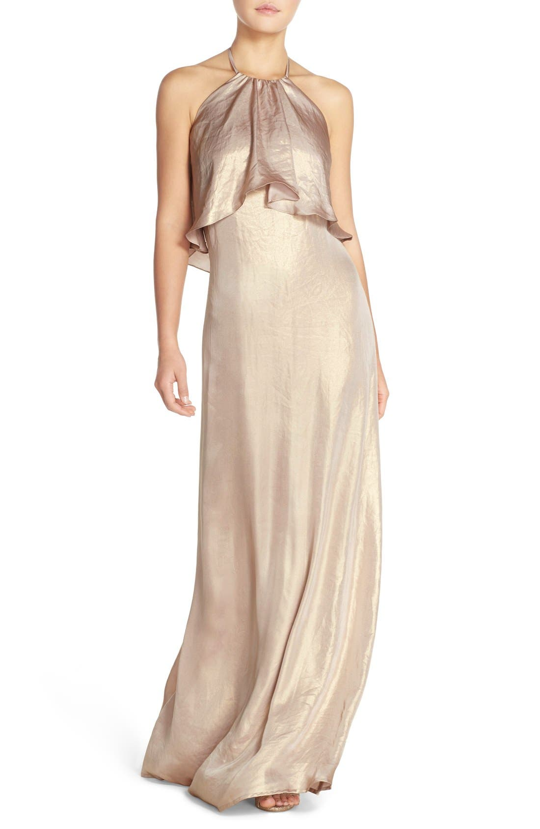'Lilith' Ruffle Bib Liquid Chiffon Halter Gown,                         Main,                         color, Rose Gold