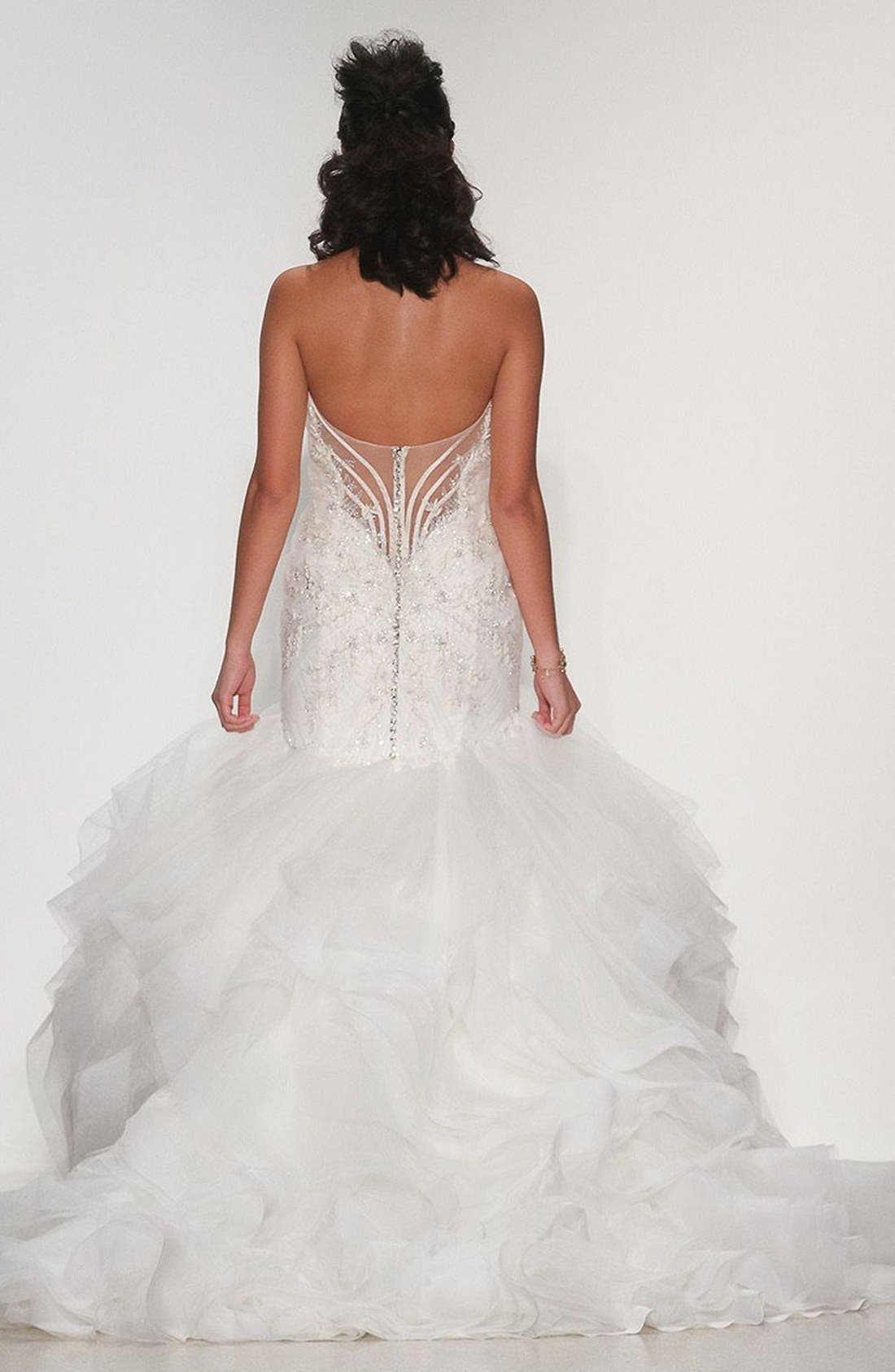 Alternate Image 2  - Matthew Christopher Adrianna Embellished Strapless Tulle & Organza Gown