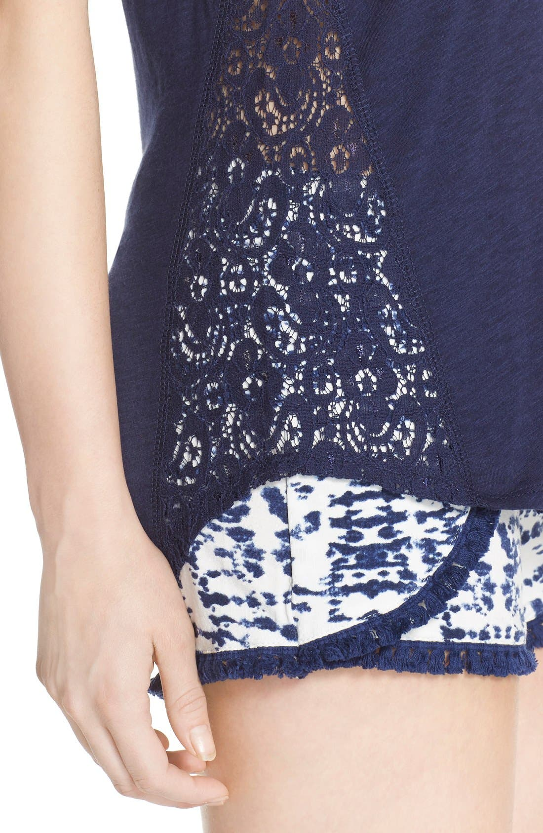 Lace Inset Jersey Tank,                             Alternate thumbnail 4, color,                             Navy