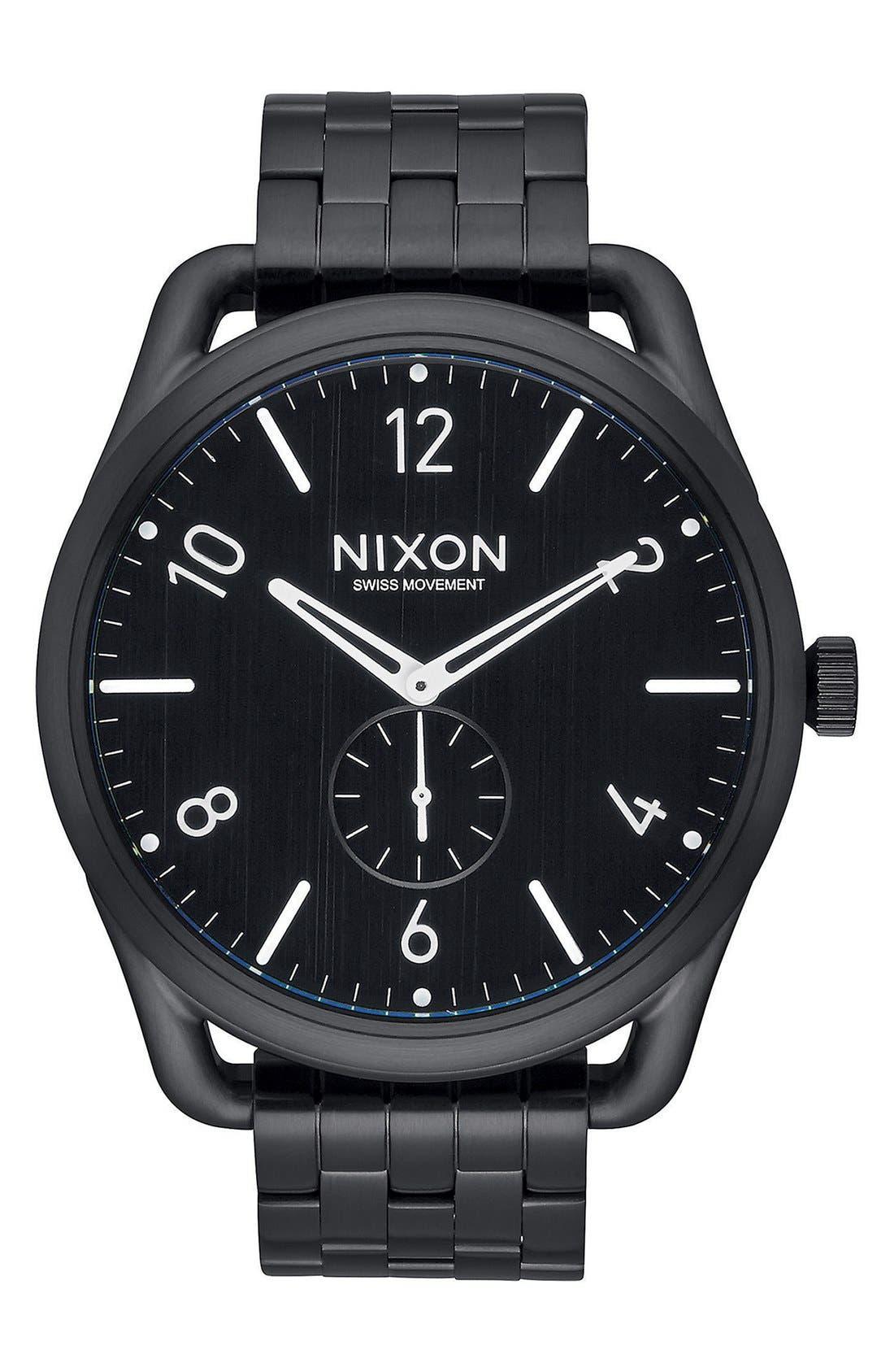 'C45' Bracelet Watch, 45mm,                             Main thumbnail 1, color,                             Black/ Black