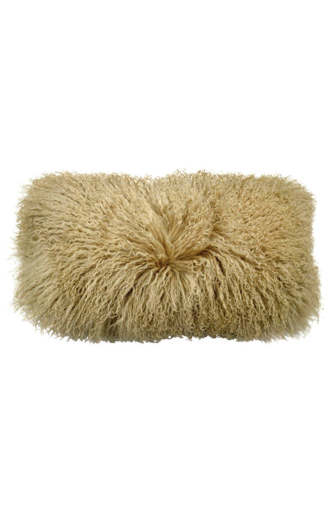 Flokati Genuine Shearling Pillow,                             Main thumbnail 1, color,                             Gold Dust