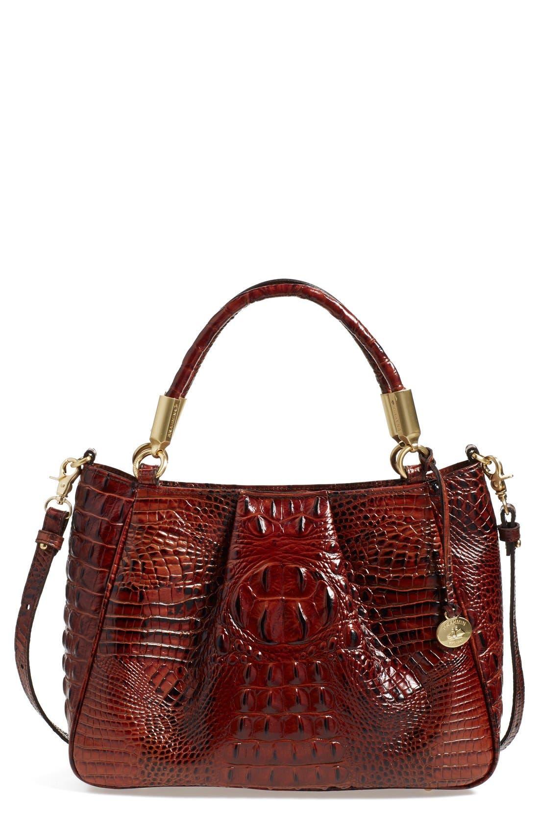 BRAHMIN Ruby Croc Embossed Leather Satchel
