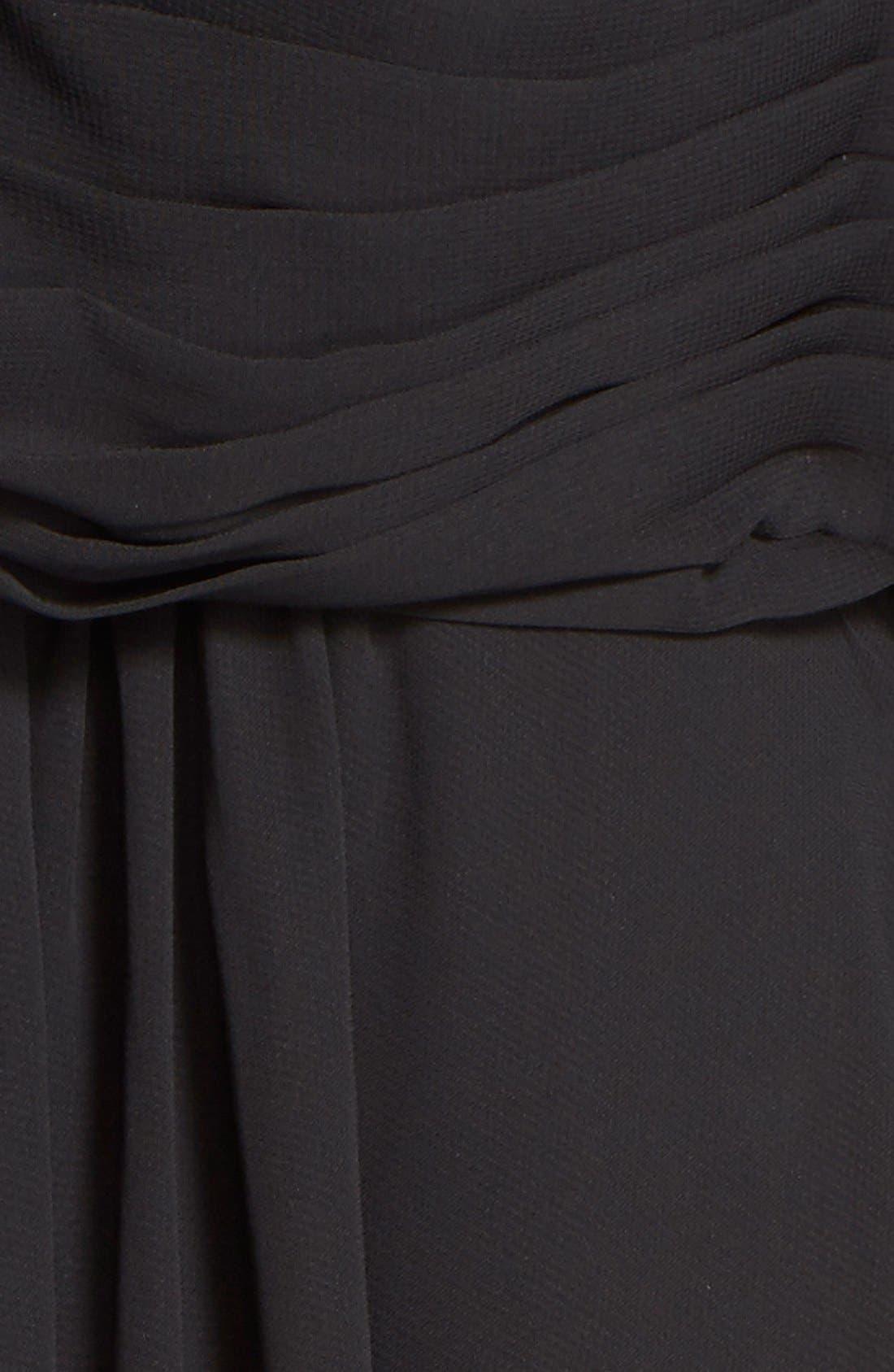 Embellished Keyhole Neck Chiffon Gown,                             Alternate thumbnail 5, color,                             Black