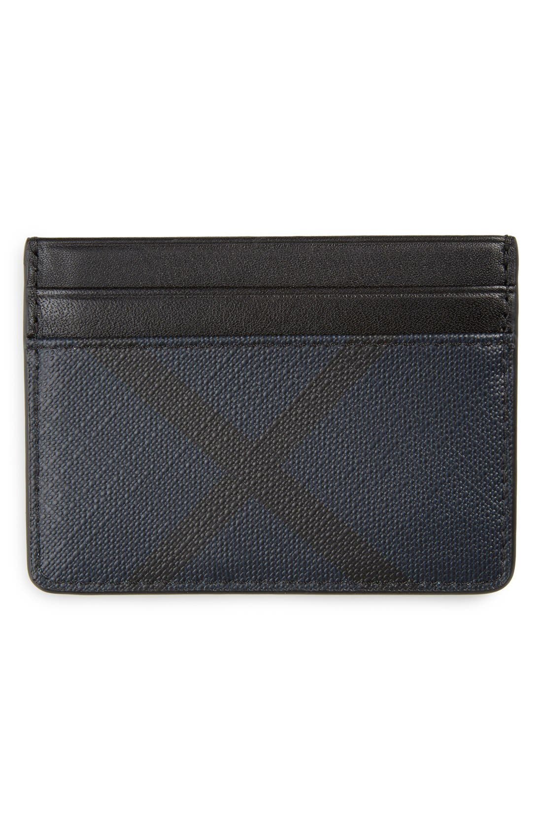 'New London' Check Card Case,                             Alternate thumbnail 2, color,                             Navy/ Black