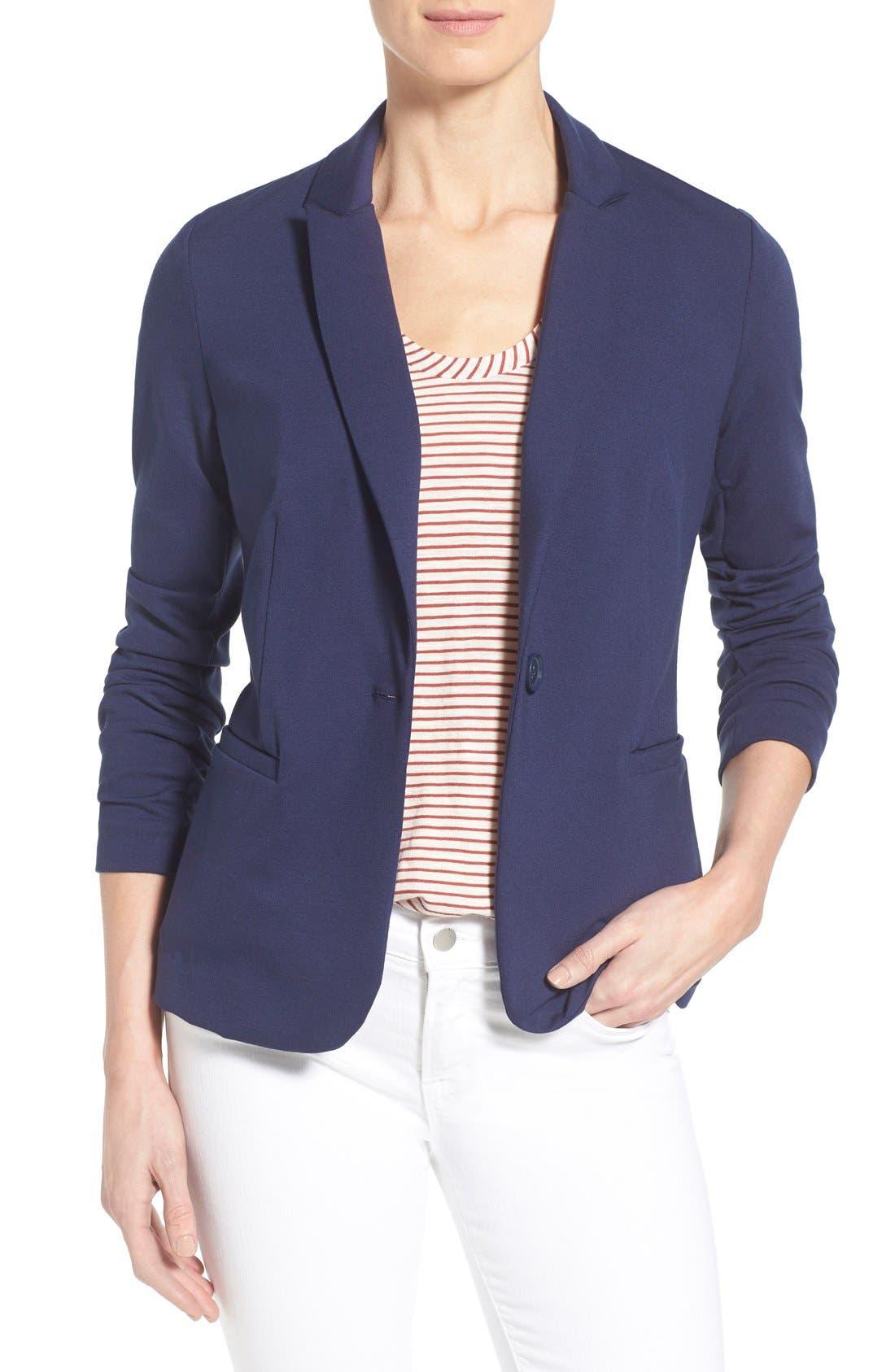 Alternate Image 1 Selected - Olivia Moon Knit Blazer (Regular & Petite)