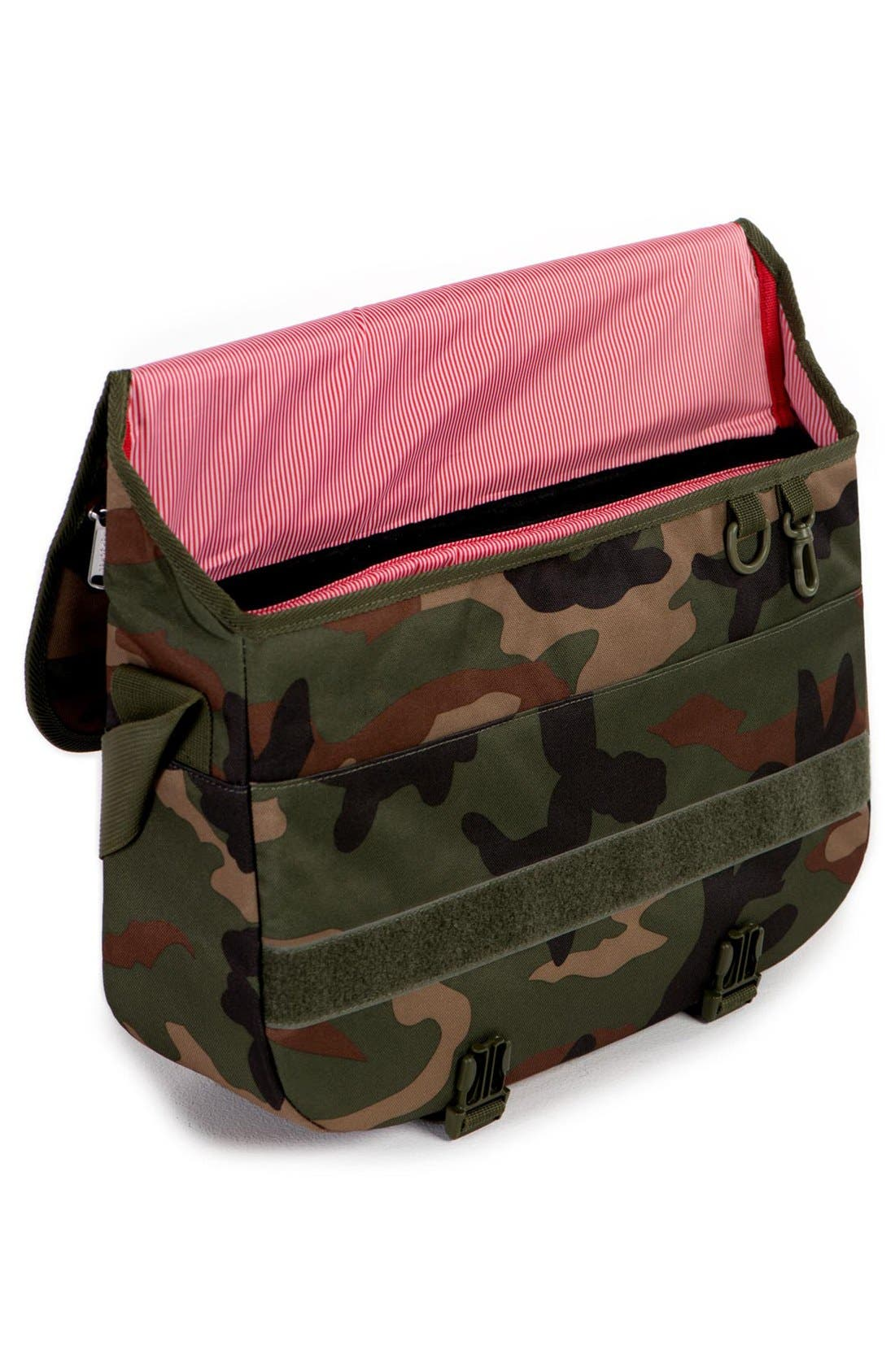 'Pop Quiz' Messenger Bag,                             Alternate thumbnail 3, color,                             Woodland Camo