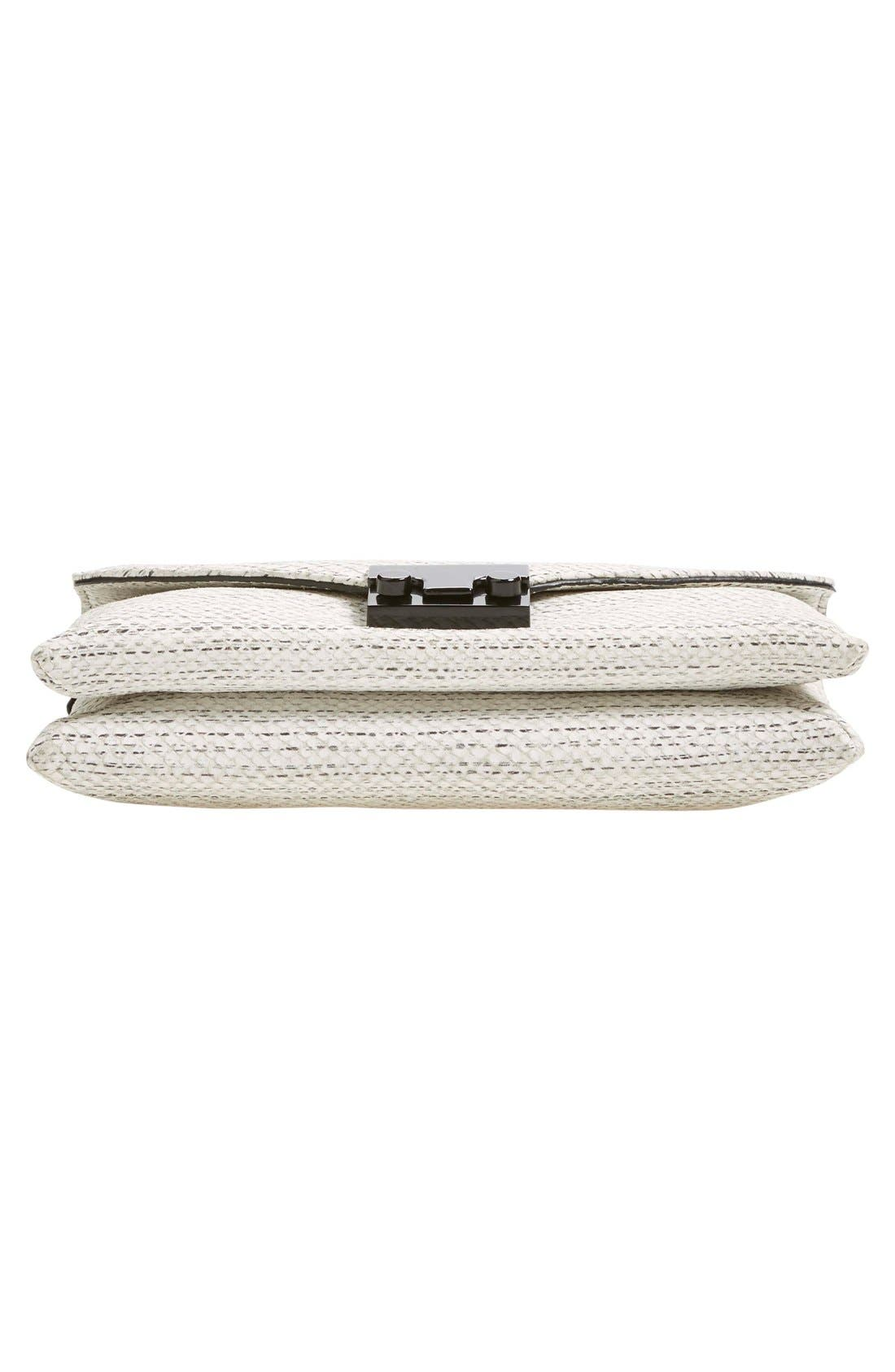 'Junior Lock' Leather Envelope Clutch,                             Alternate thumbnail 6, color,                             White Black