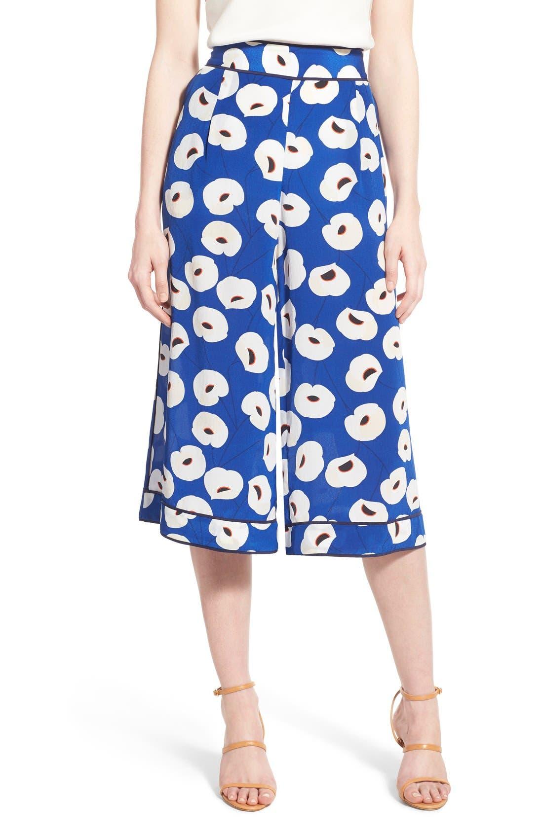 Floral Print Silk Culottes,                             Main thumbnail 1, color,                             Blue Mazarine Poppy