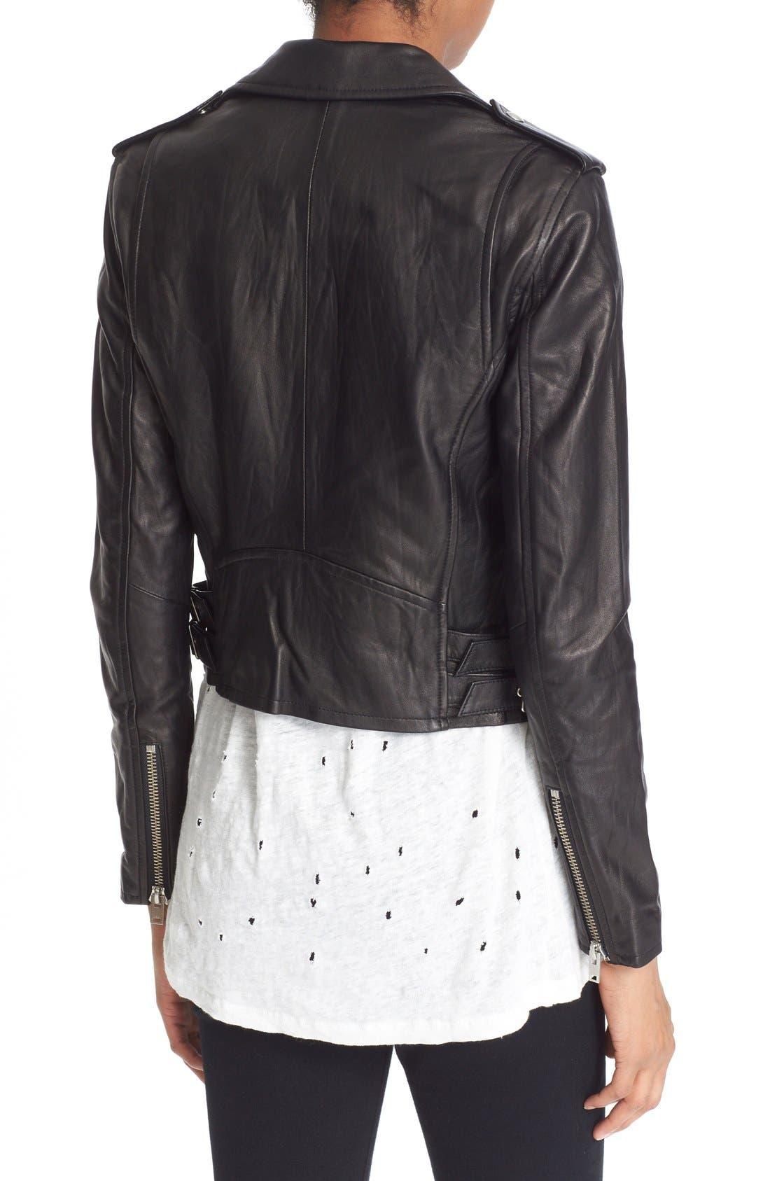 'Ashville' Leather Jacket,                             Alternate thumbnail 2, color,                             Black