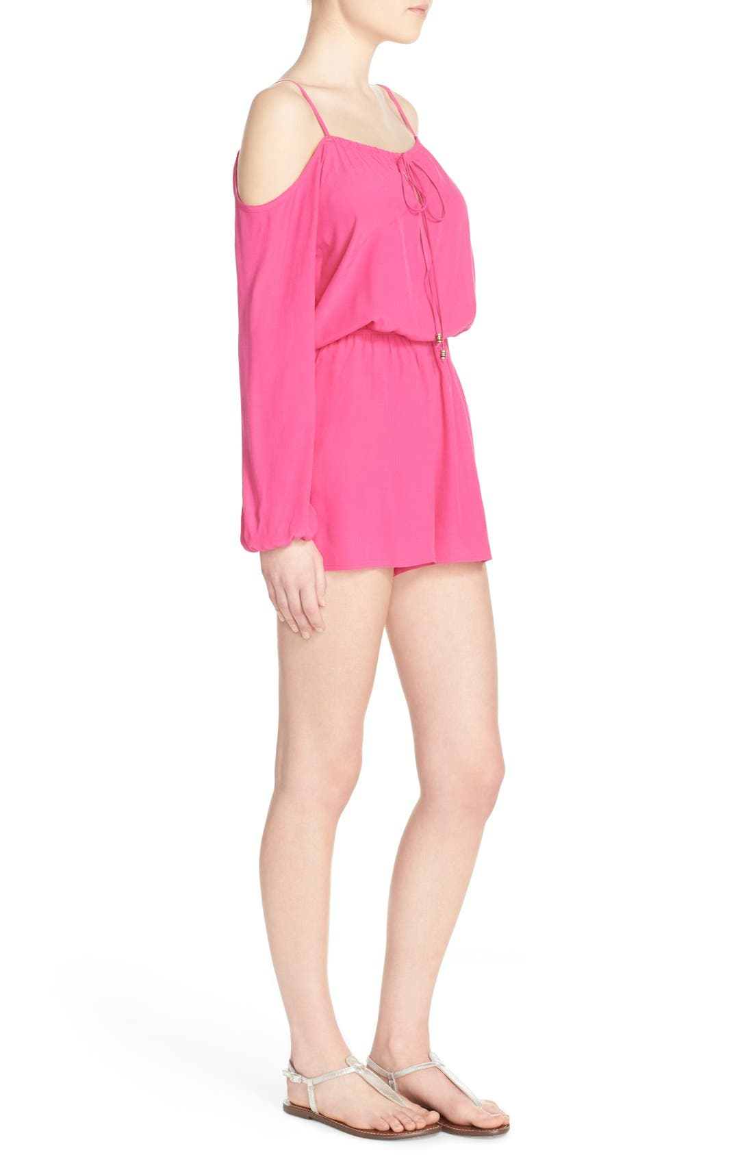 Cold Shoulder Romper,                             Alternate thumbnail 3, color,                             Pink