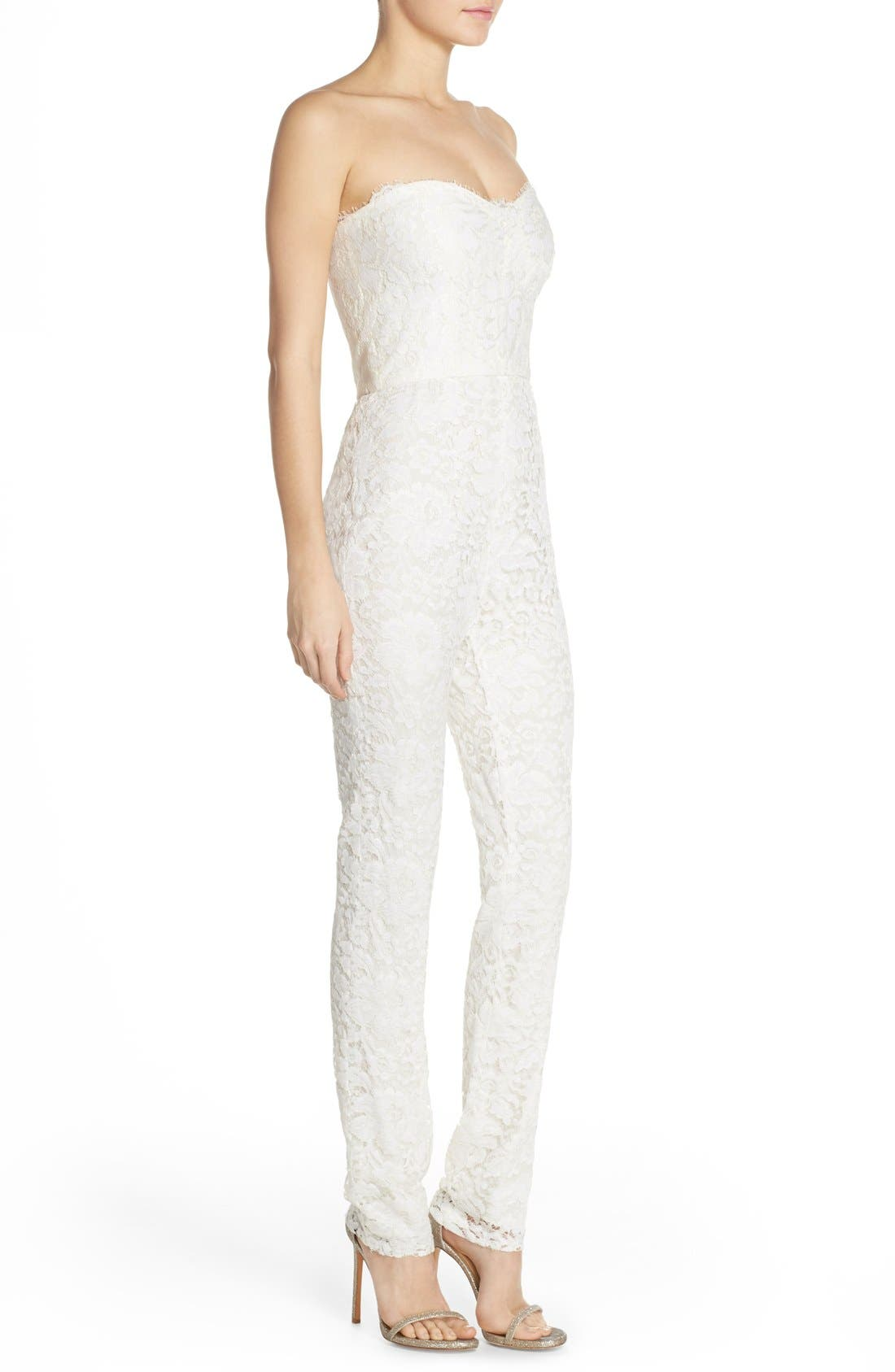 Monique Lhuillier Ready to Wed Strapless Chantilly Lace Jumpsuit,                             Alternate thumbnail 3, color,                             Silk White