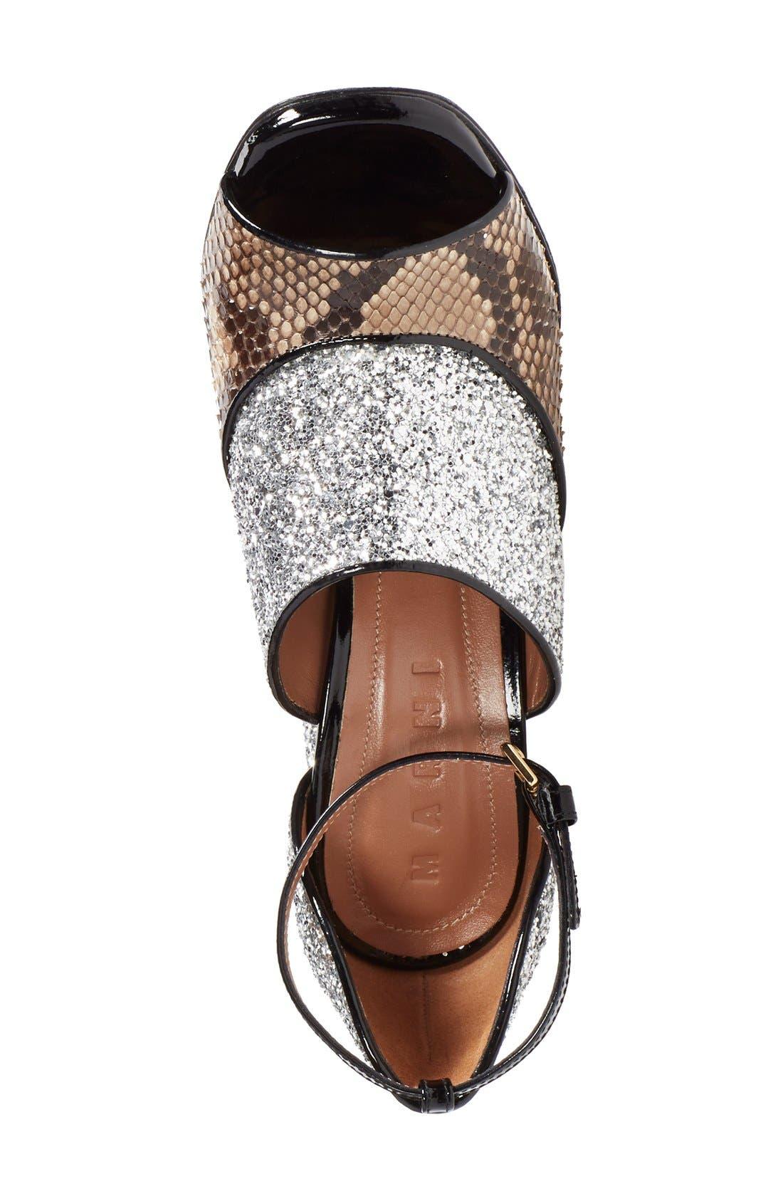 Alternate Image 3  - Marni Peep Toe Chunky Genuine Python & Glitter Sandal (Women)