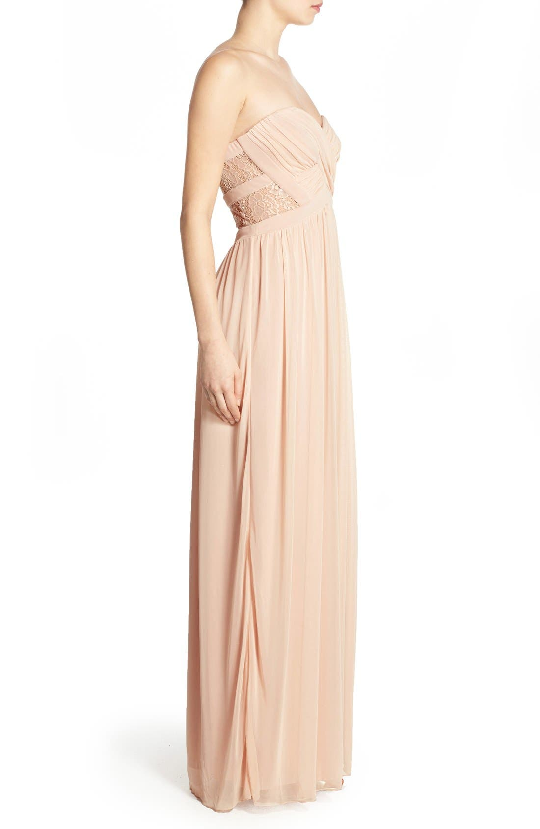 Alternate Image 4  - Way-In 'Diana' Lace Inset Strapless Gown
