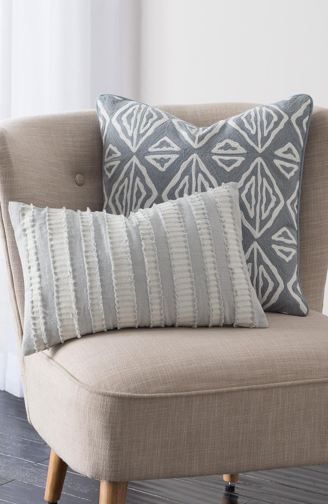 'Moroccan Geo' Crewel Embroidered Pillow,                             Alternate thumbnail 2, color,                             Grey