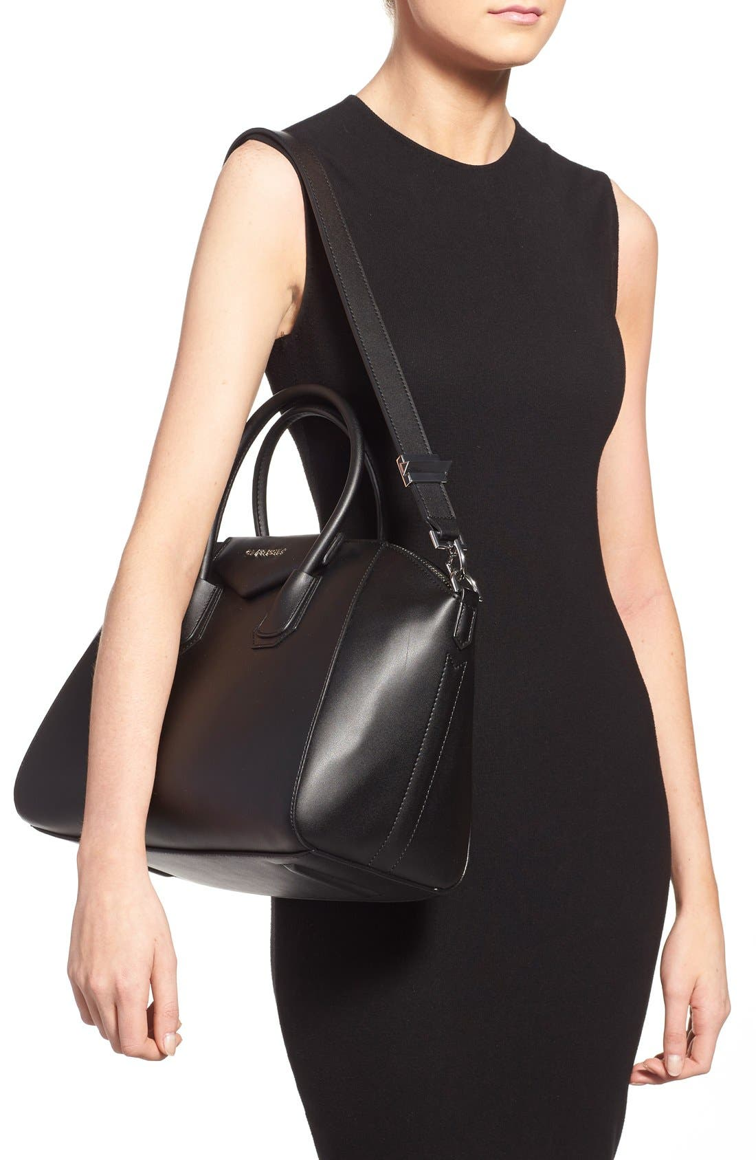 'Medium Antigona' Leather Satchel,                             Alternate thumbnail 2, color,                             Black