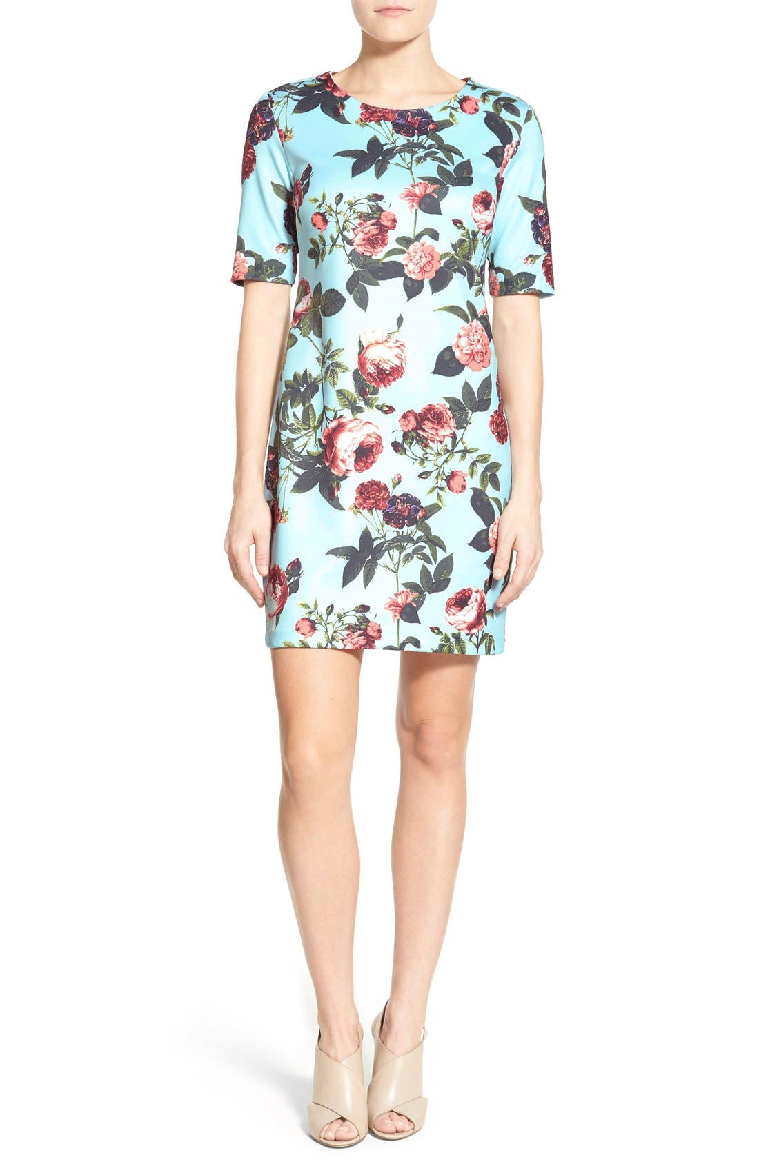 by Cynthia Steffe 'Bouquet Estate' Floral Print Scuba Knit Sheath Dress,                             Main thumbnail 1, color,                             Clearwater