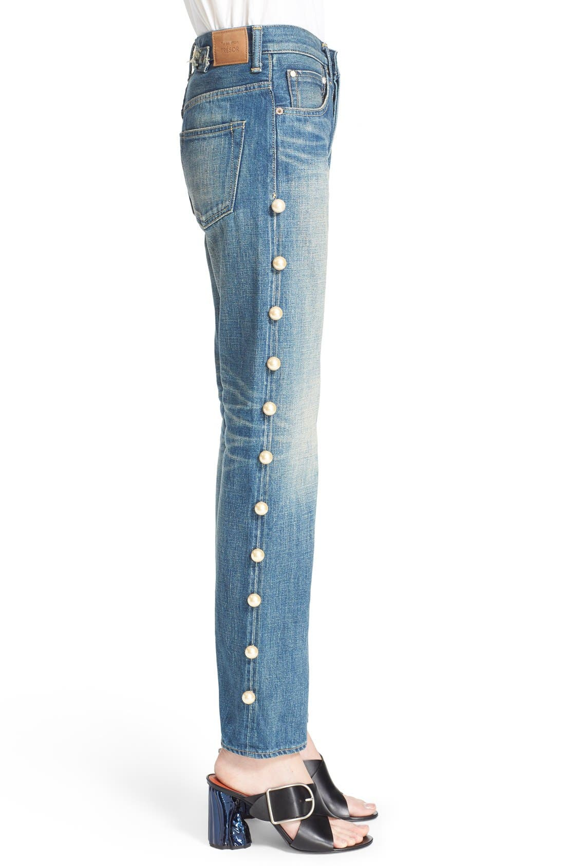 Imitation Pearl Embellished Jeans,                             Alternate thumbnail 5, color,                             Pearl