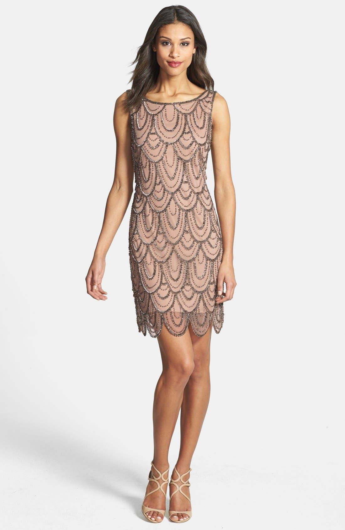 Embellished Mesh Sheath Dress,                         Main,                         color, Rose