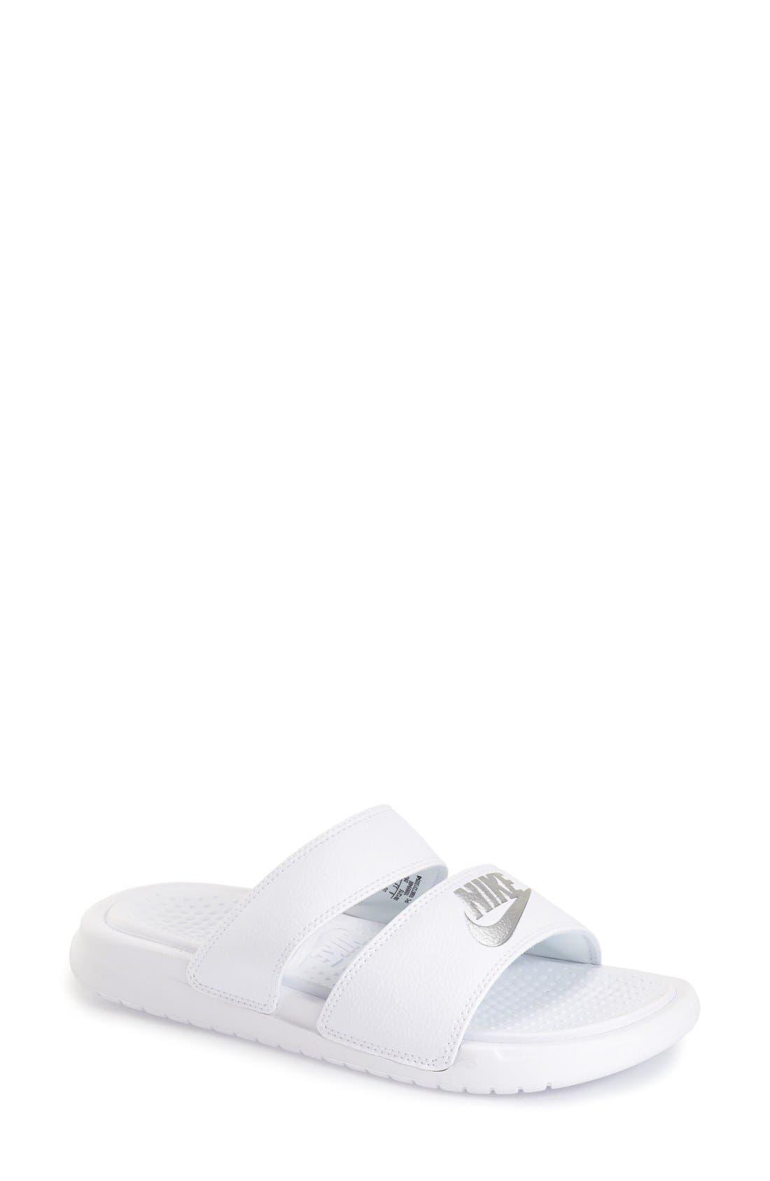 'Benassi - Ultra' Slide Sandal,                             Main thumbnail 1, color,                             White/ Metallic Silver