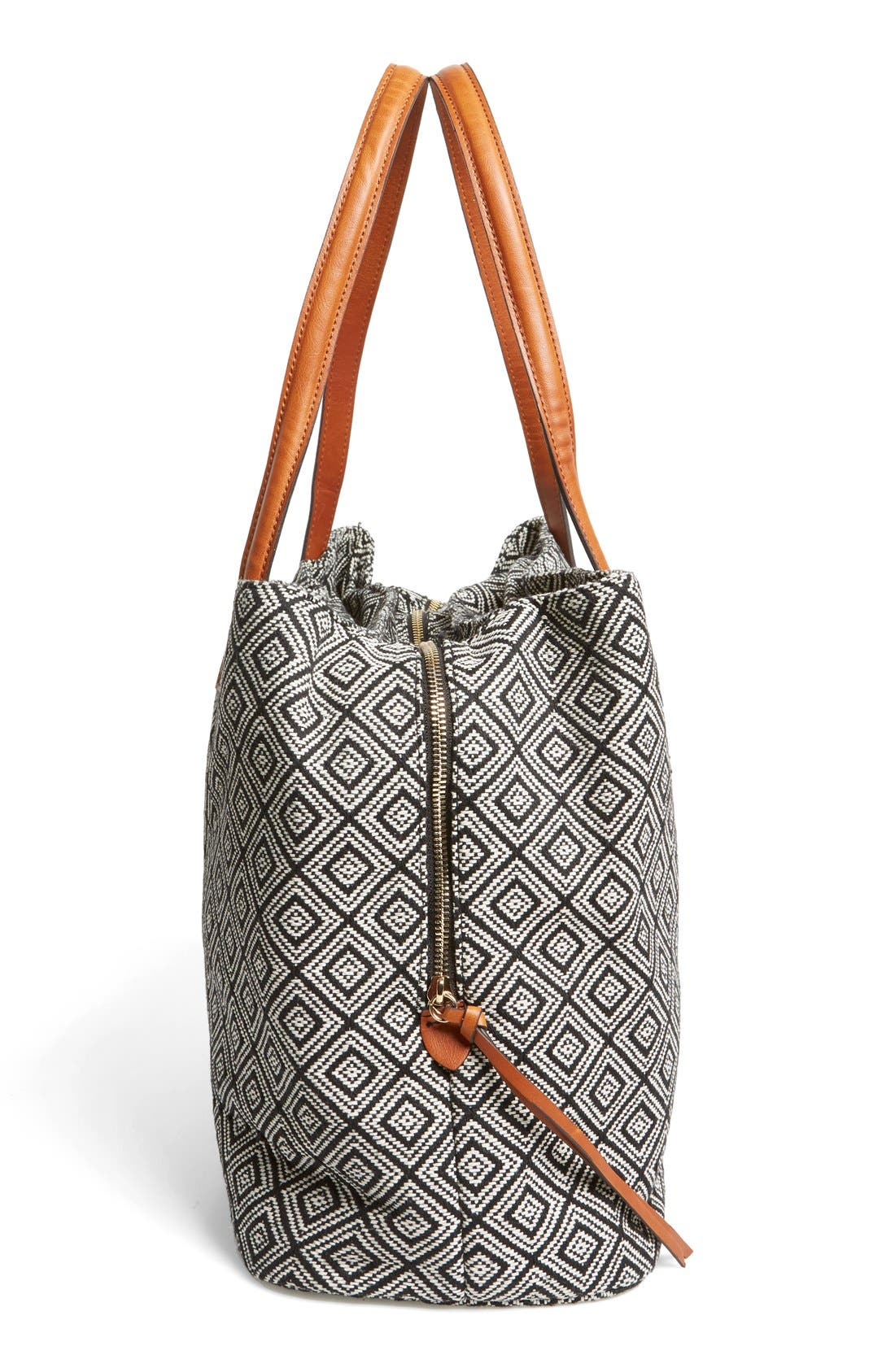 'Oversize Millie' Tote,                             Alternate thumbnail 5, color,                             Black White Geo
