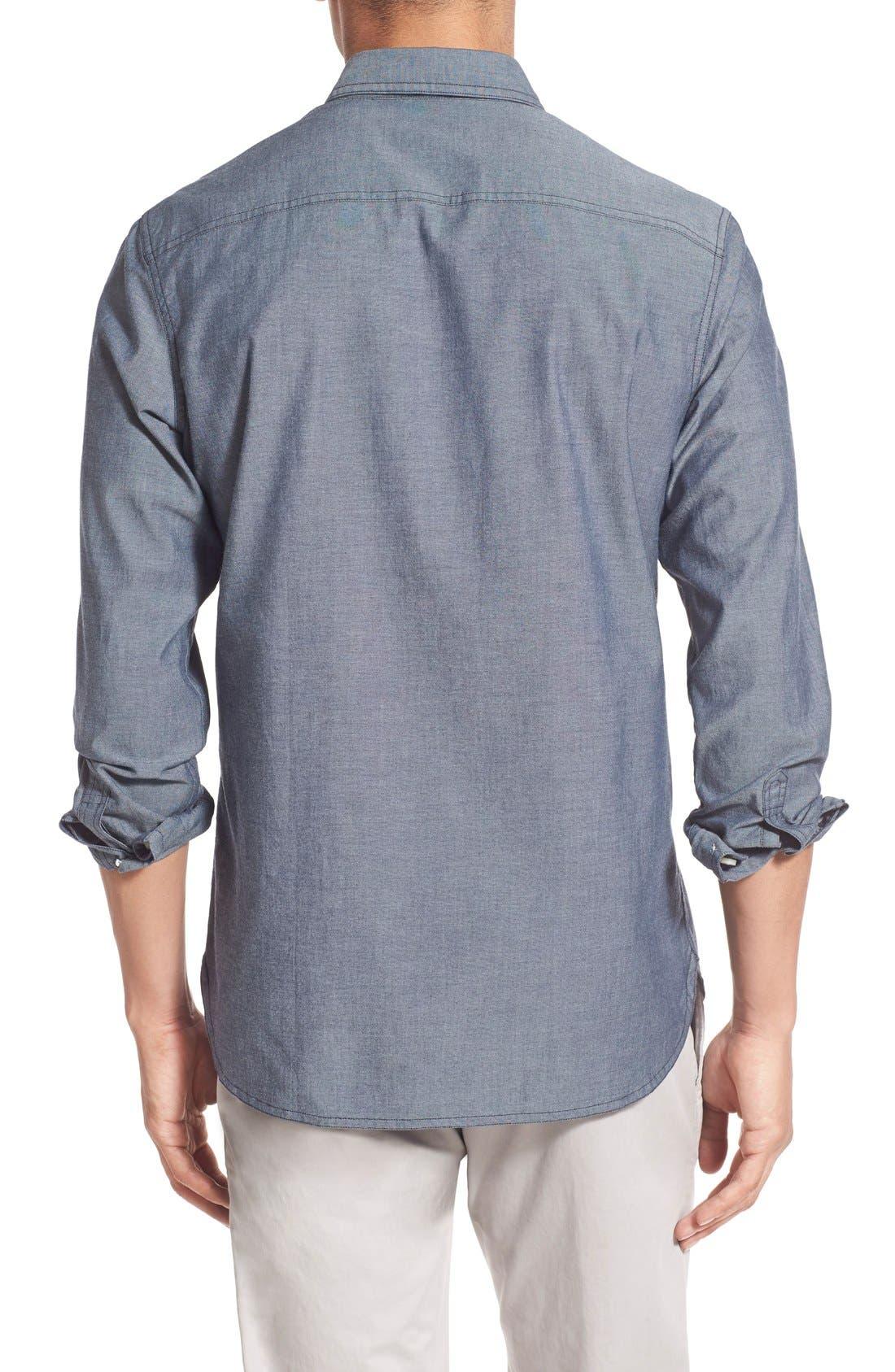 'Workwear' Trim Fit Chambray Sport Shirt,                             Alternate thumbnail 8, color,                             Light Blue
