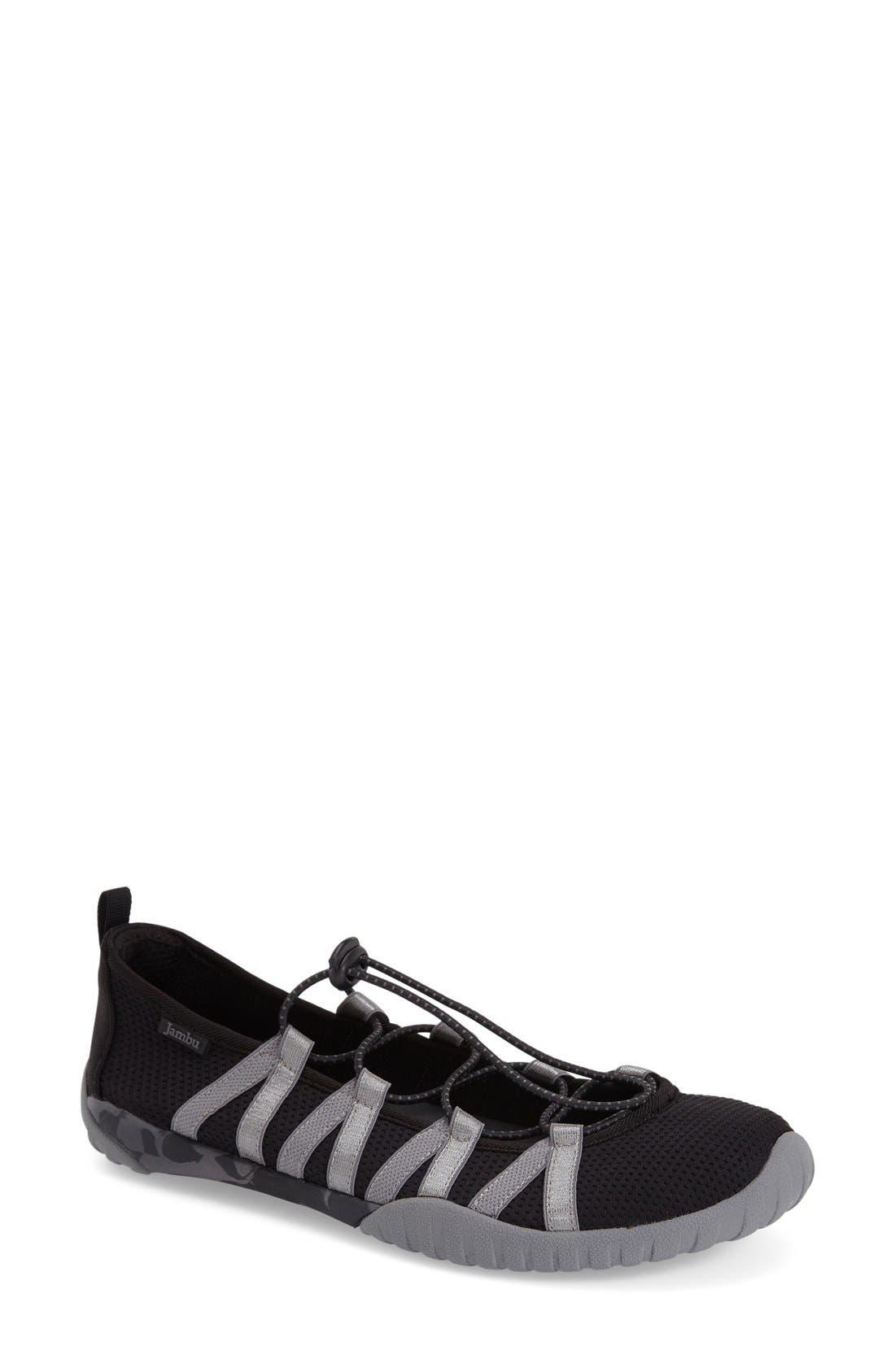 'Manuka' Water Friendly Slip-On Sneaker,                             Main thumbnail 1, color,                             Black Fabric