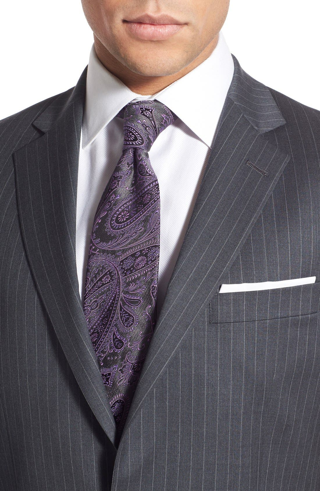 New York Classic Fit Stripe Wool Suit,                             Alternate thumbnail 5, color,                             Grey